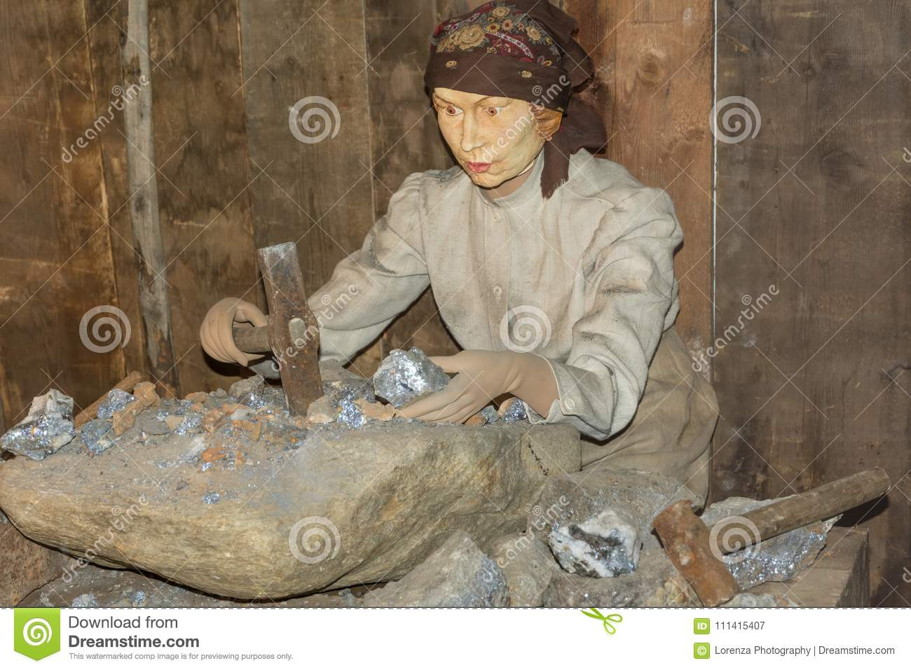 Ridnaun Valley Ridanna in South Tyrol, Italy-may 27,2017: interior hall of South Tyrol mining Museum:reproduction of a female fi