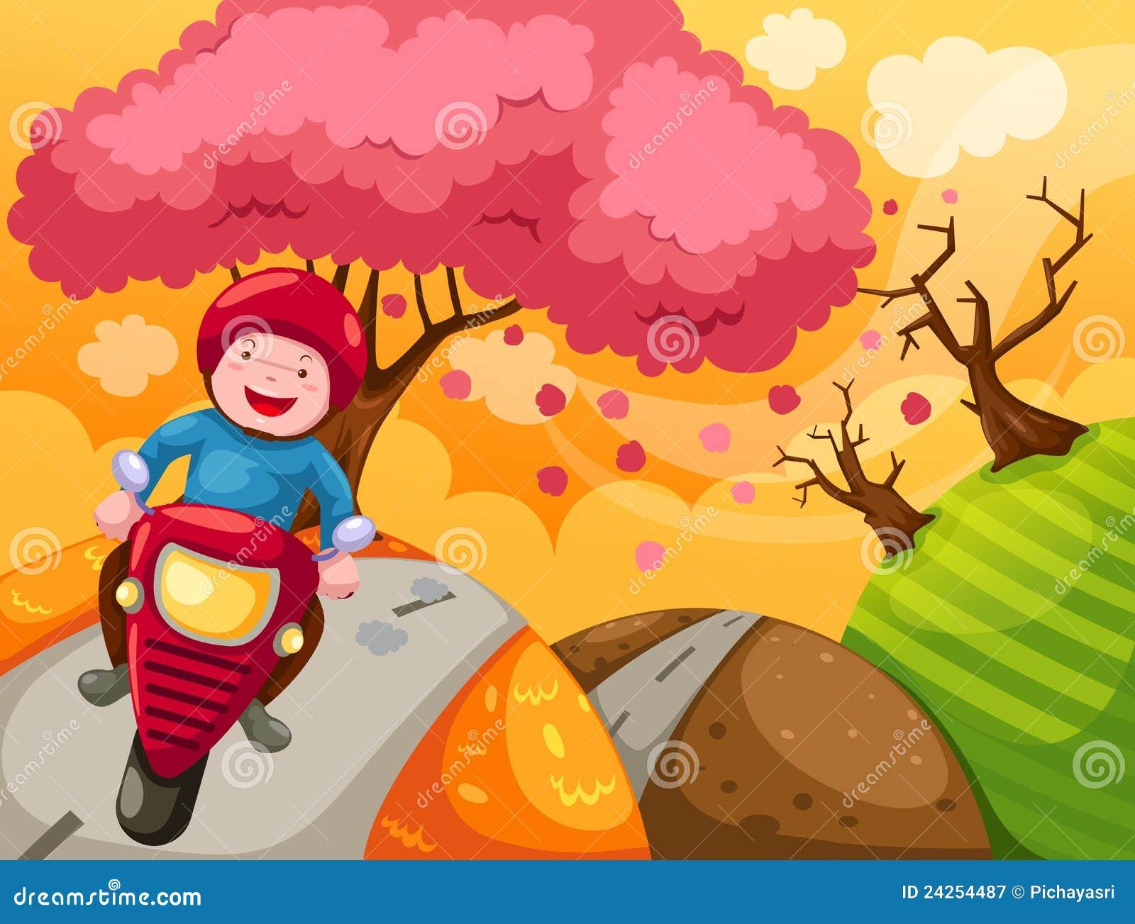 Ridning för motorcykel för pojketecknad filmliggande