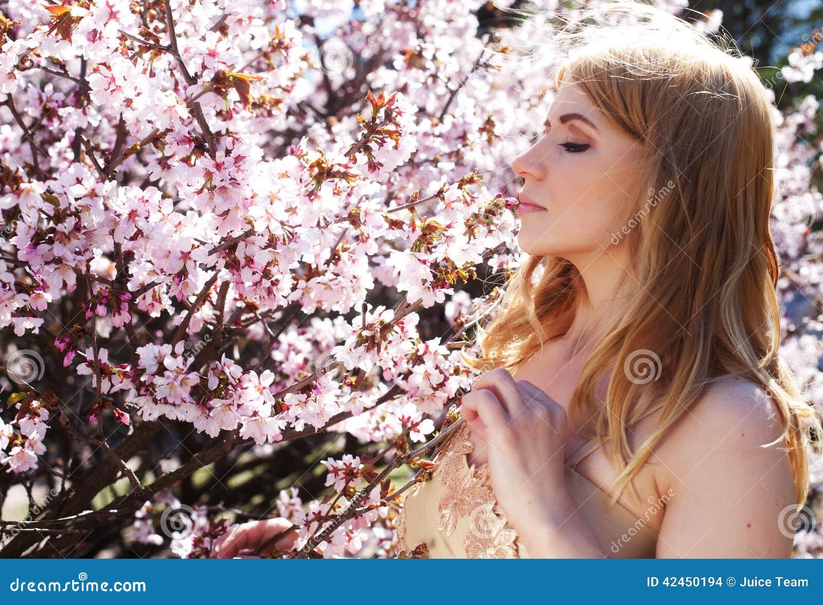Riechende Blumen der Frau in blühendem Kirschblüte-Garten