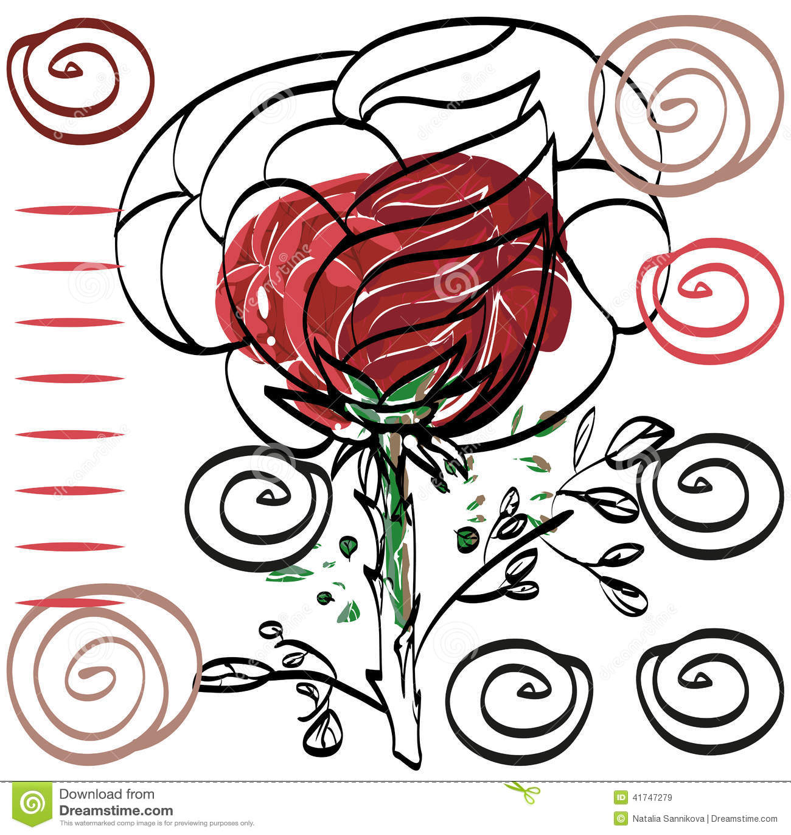 Rien Carte Rose De Dessin Significatif De Decoupe Pour La