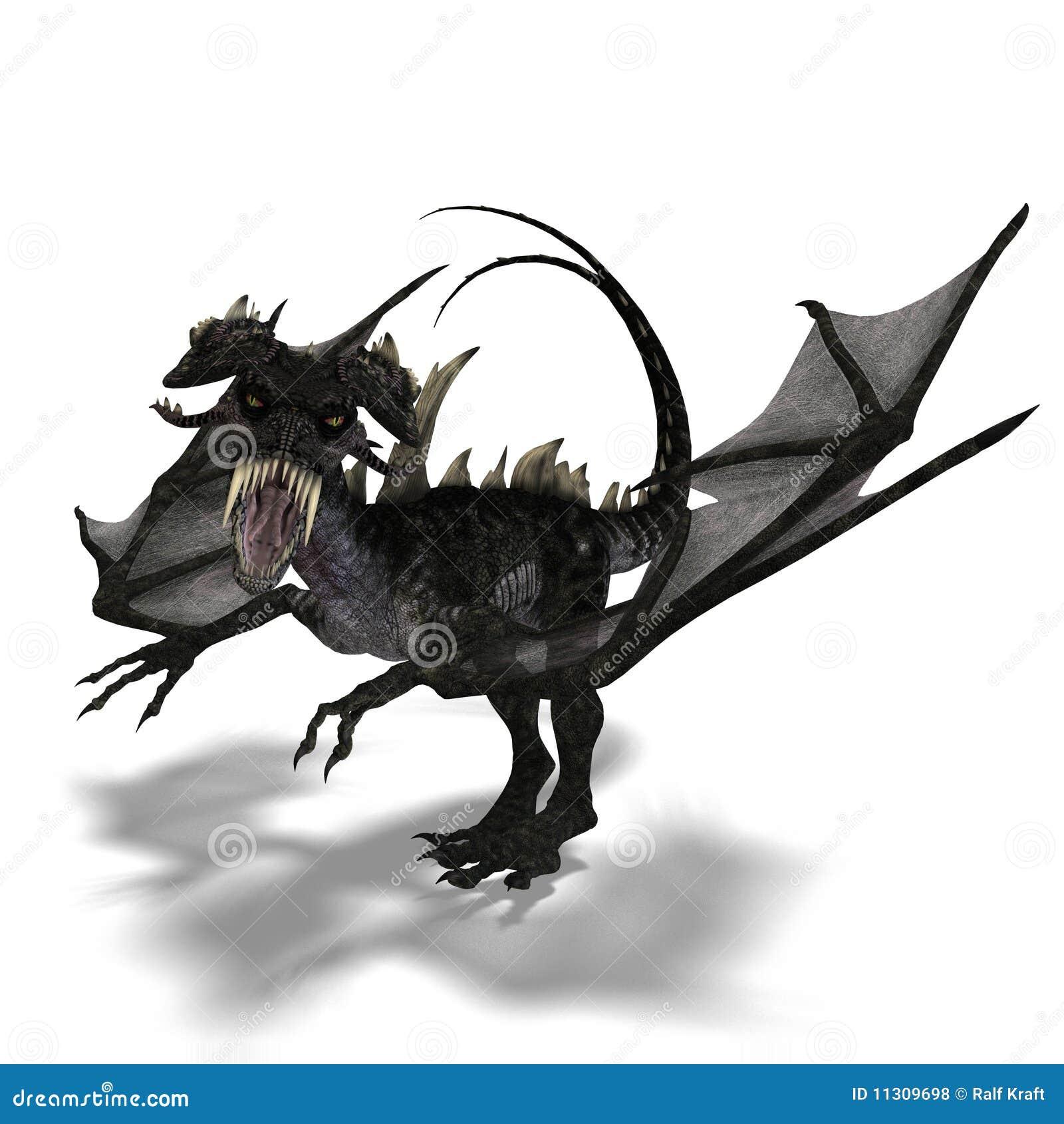 Riesiger erschreckender Drache mit Flügeln und Hupen