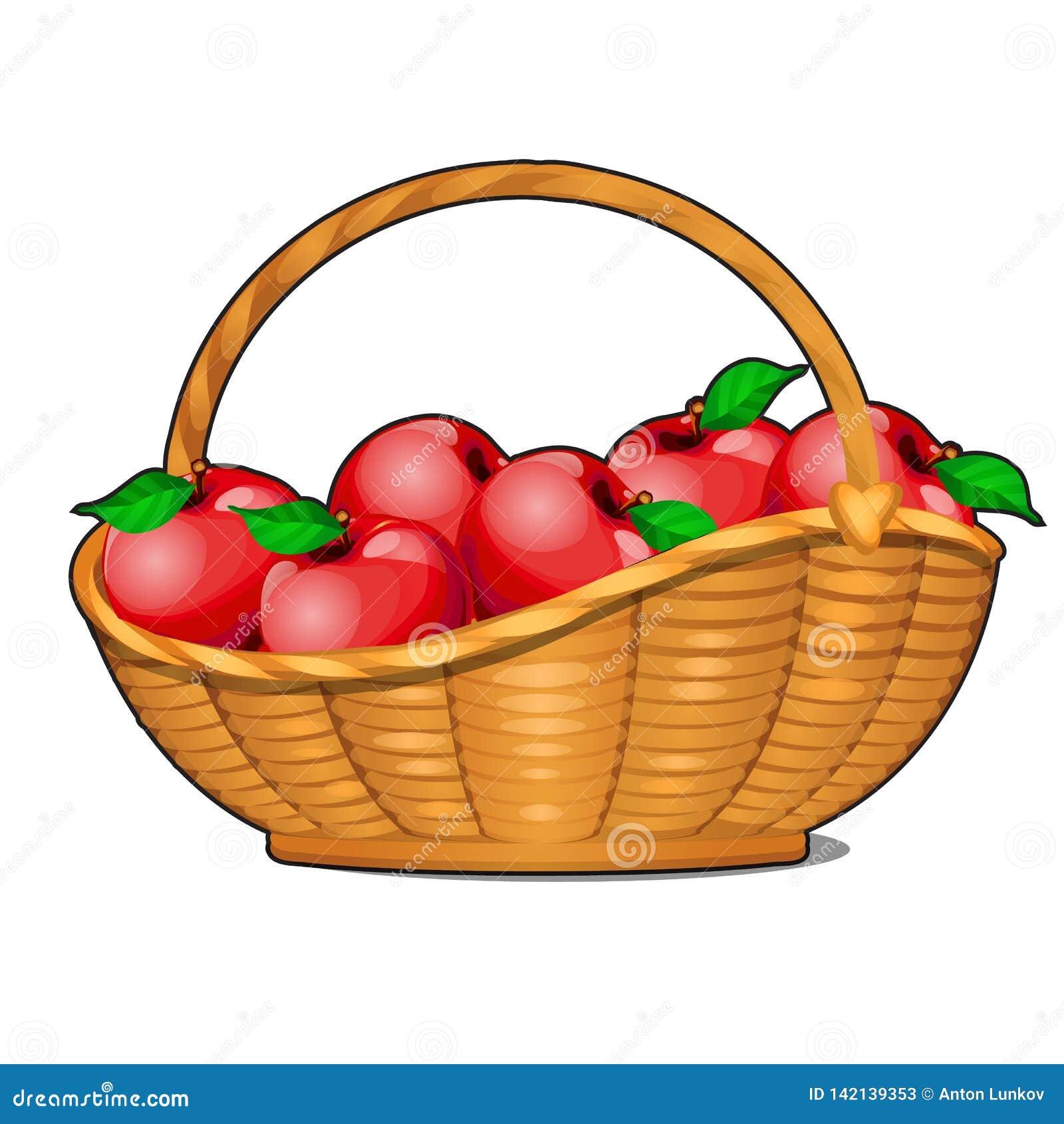 Rieten die mand met rijpe rode die appelen wordt gevuld op witte achtergrond worden geïsoleerd Het menu van de voedselgeschikthei