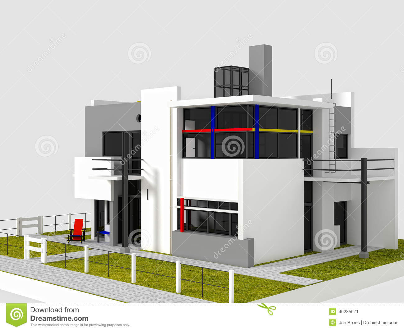 Rietveld Schroder East View Stock Illustration - Image ...