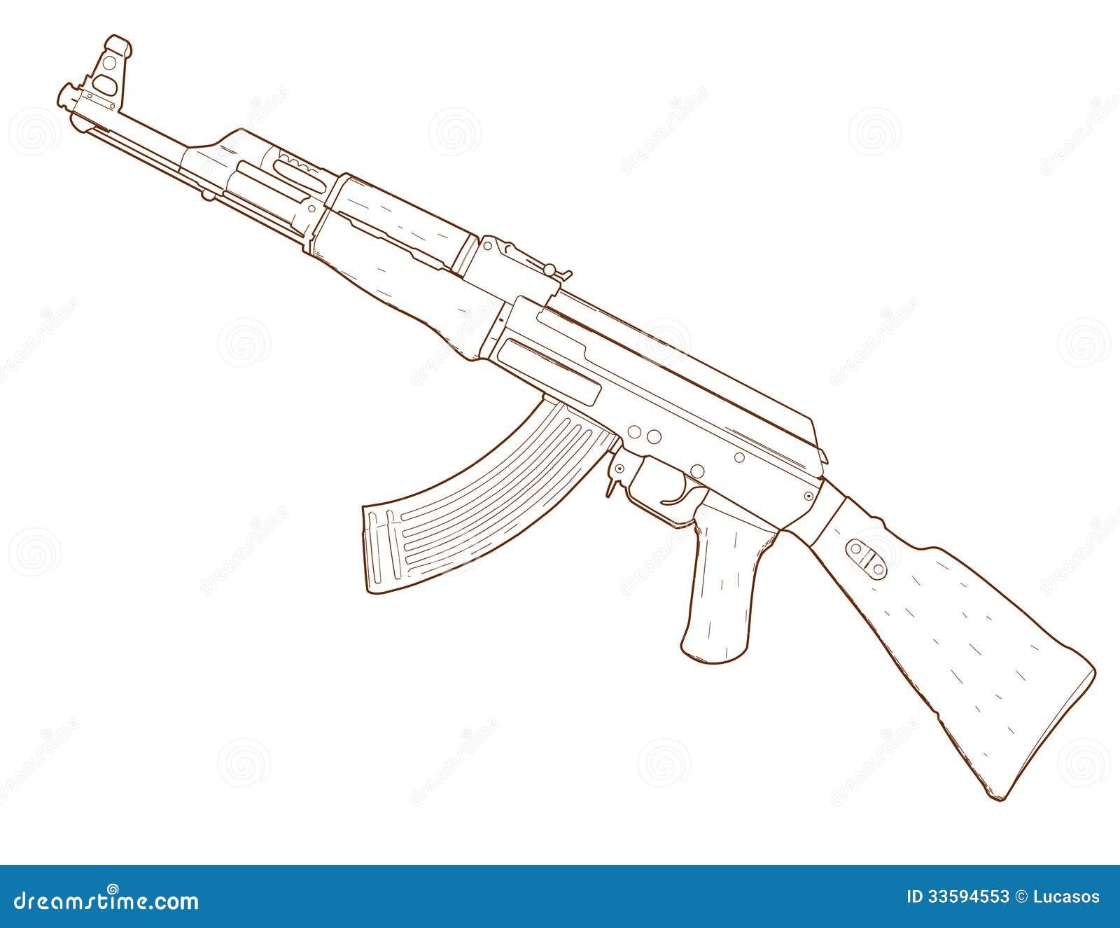 Rifle Ak 47 Stock Illustration Image Of Sketch Ak47