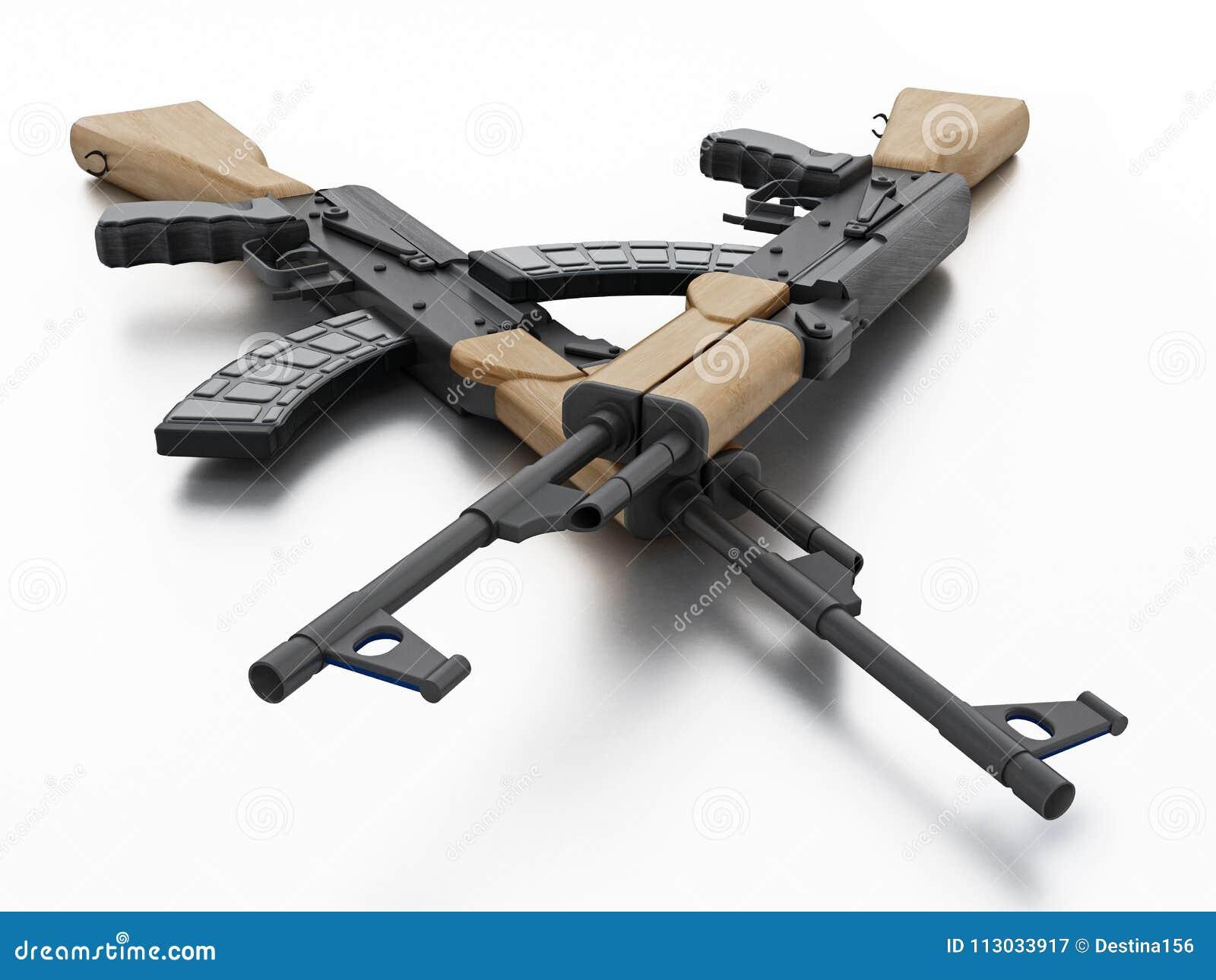 Rifle automático aislado en el fondo blanco ilustración 3D