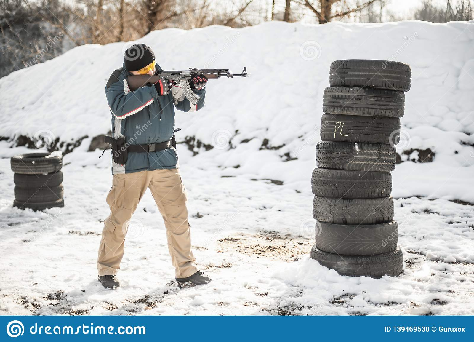 Rifle Tactical Shooting Training Behind And Around Cover Or