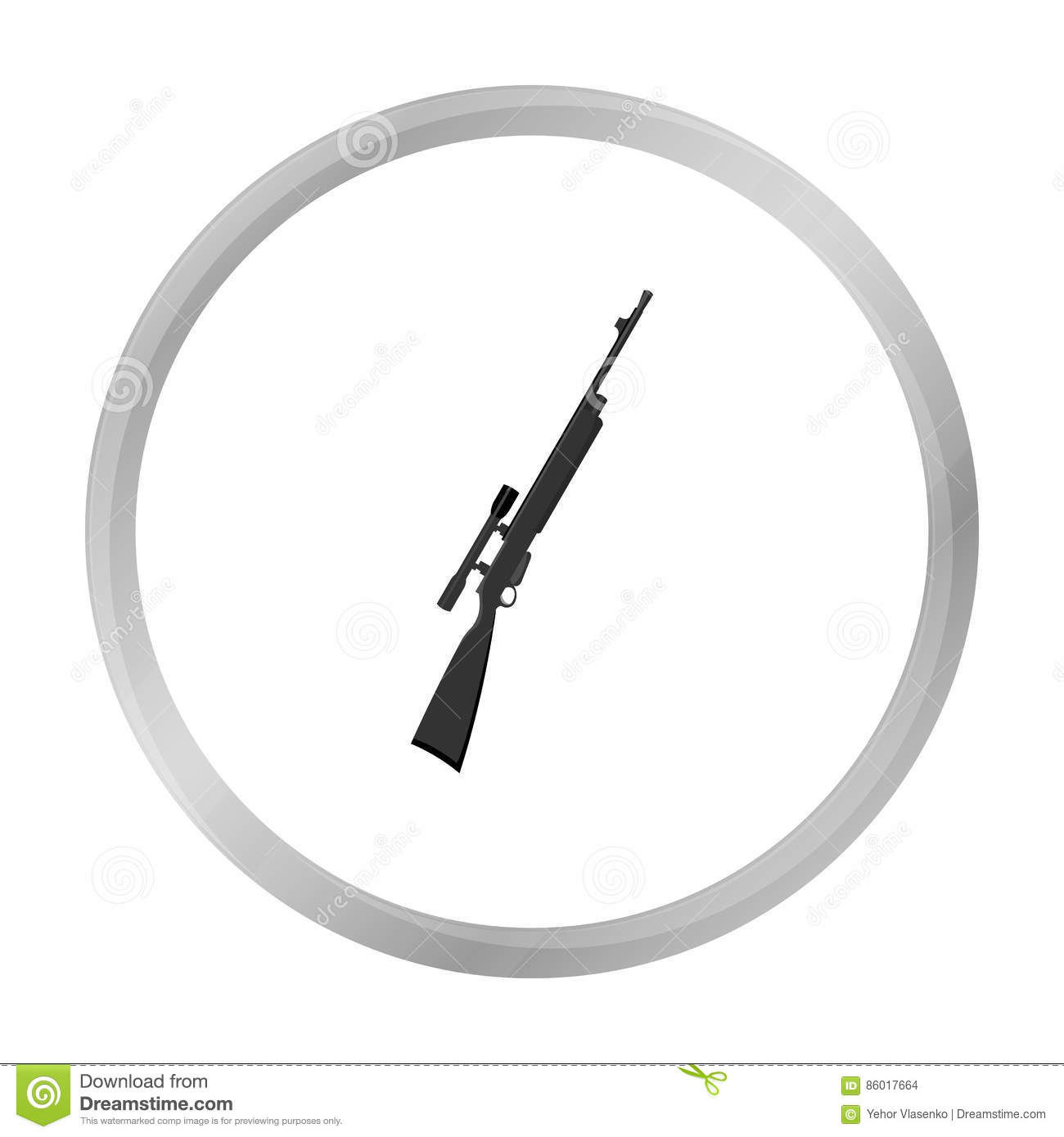 Rifle sniper gun icon monochrome. Single weapon icon from the big ammunition, arms set.