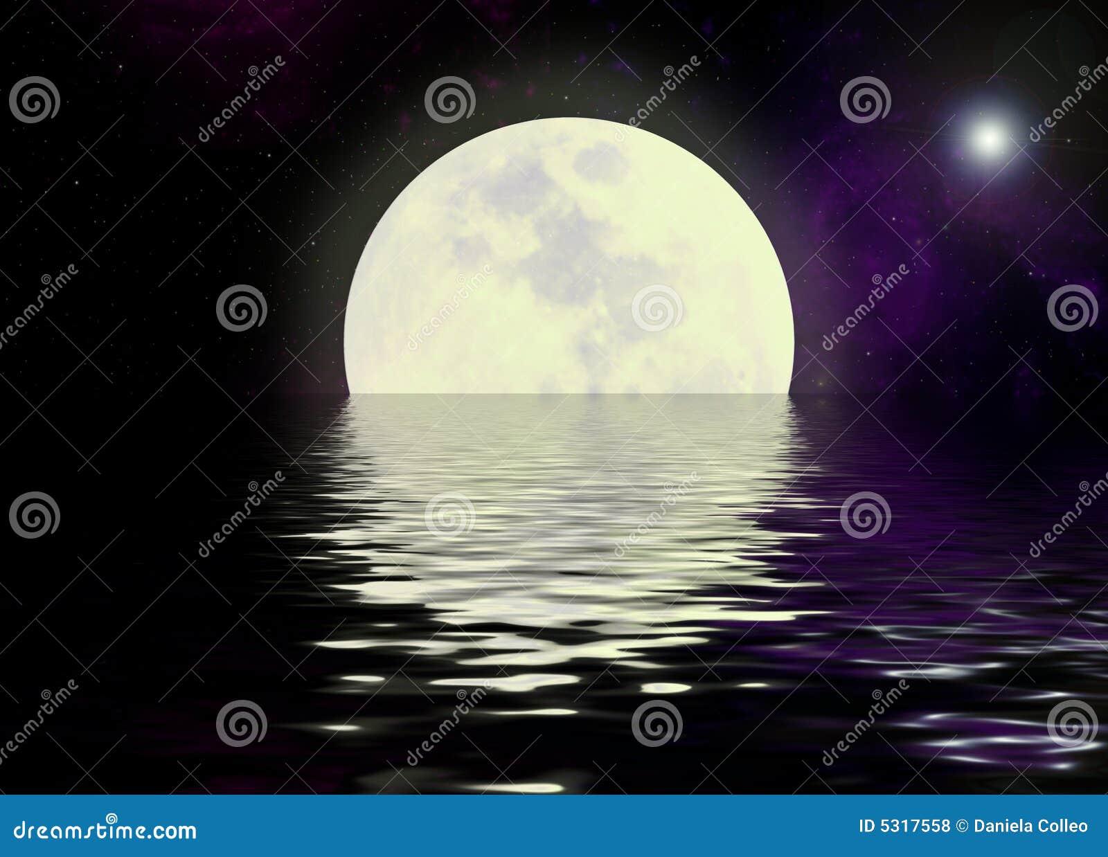 Download Riflessione Dell'acqua E Della Luna Fotografia Stock - Immagine di background, fractal: 5317558