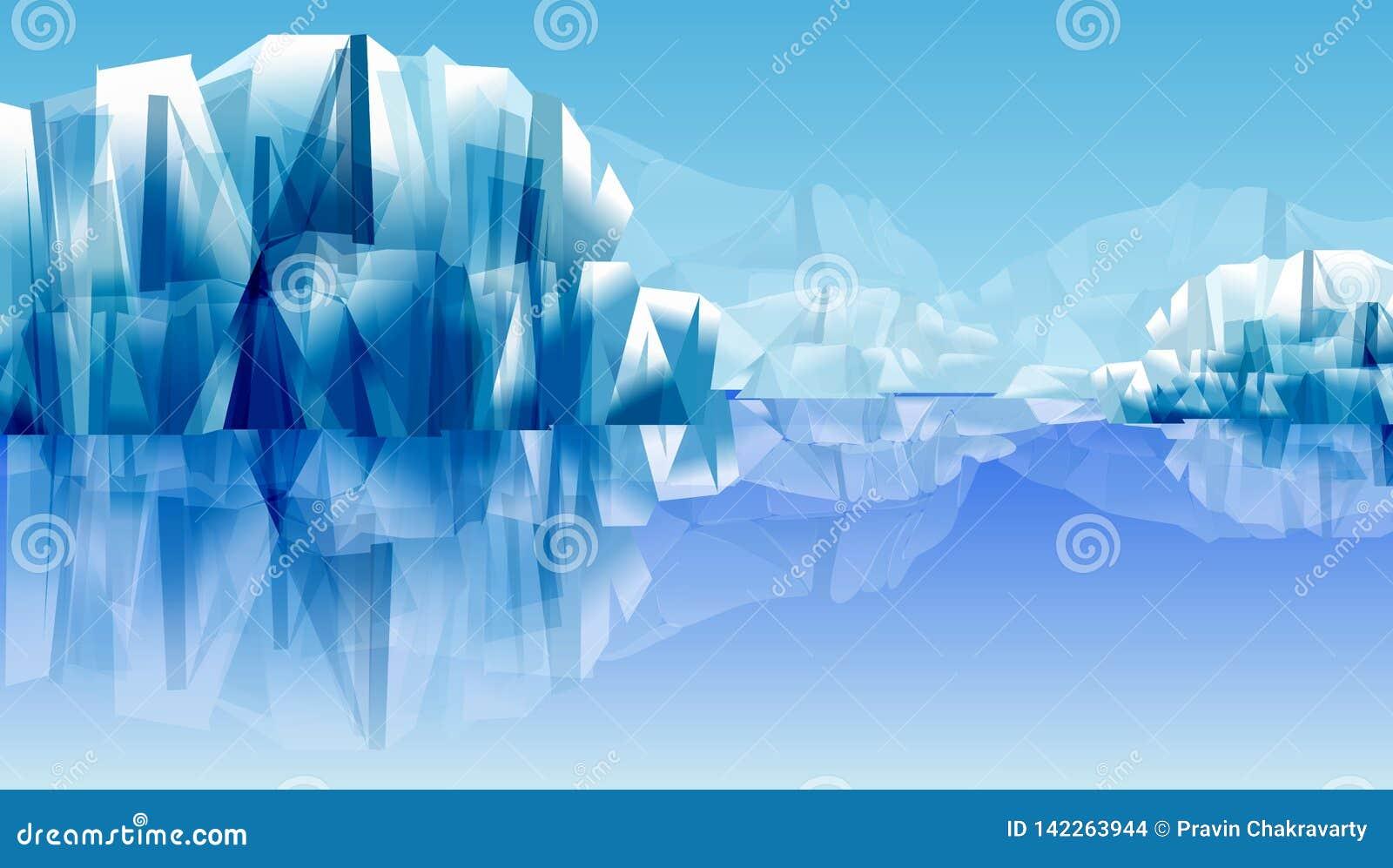 Riflessione delle rocce o della montagna della neve sull acqua illustrazione astratta di vettore Priorità bassa della carta da pa