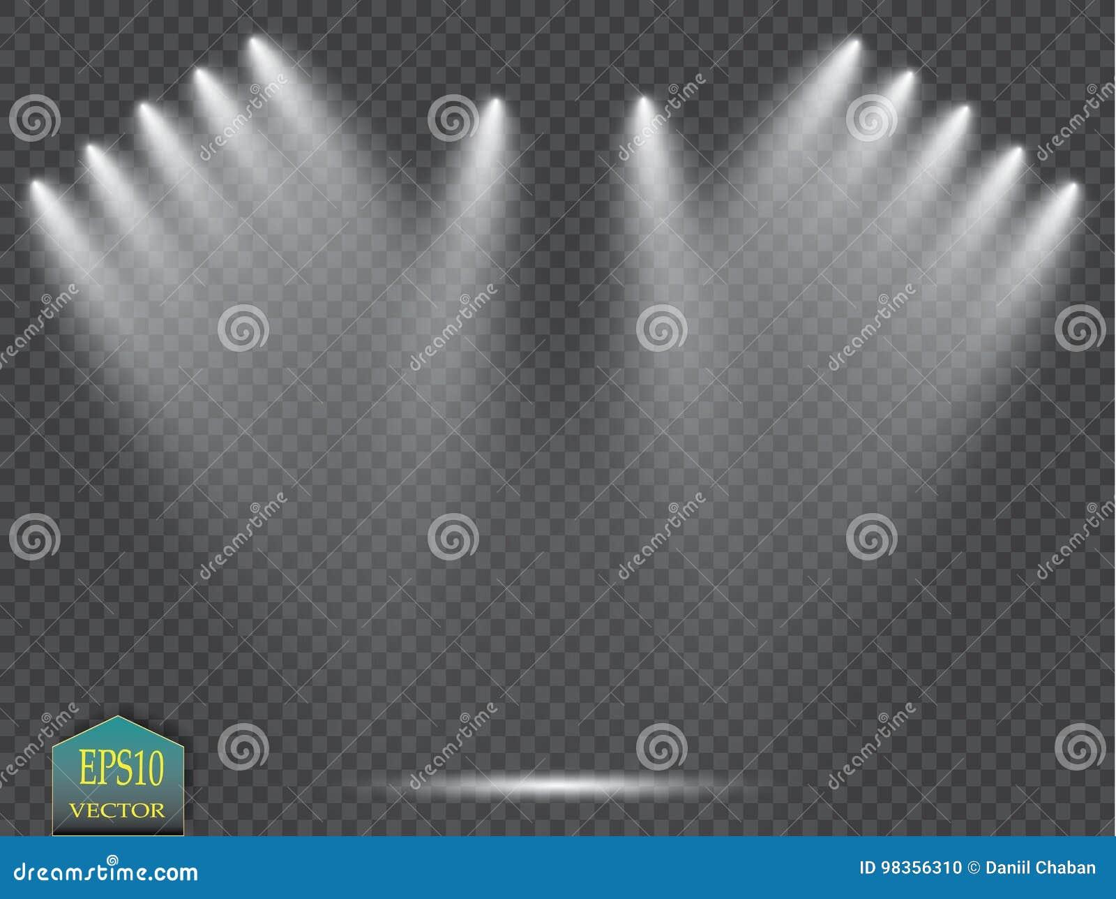 Riflettori di vettore scena Effetti della luce