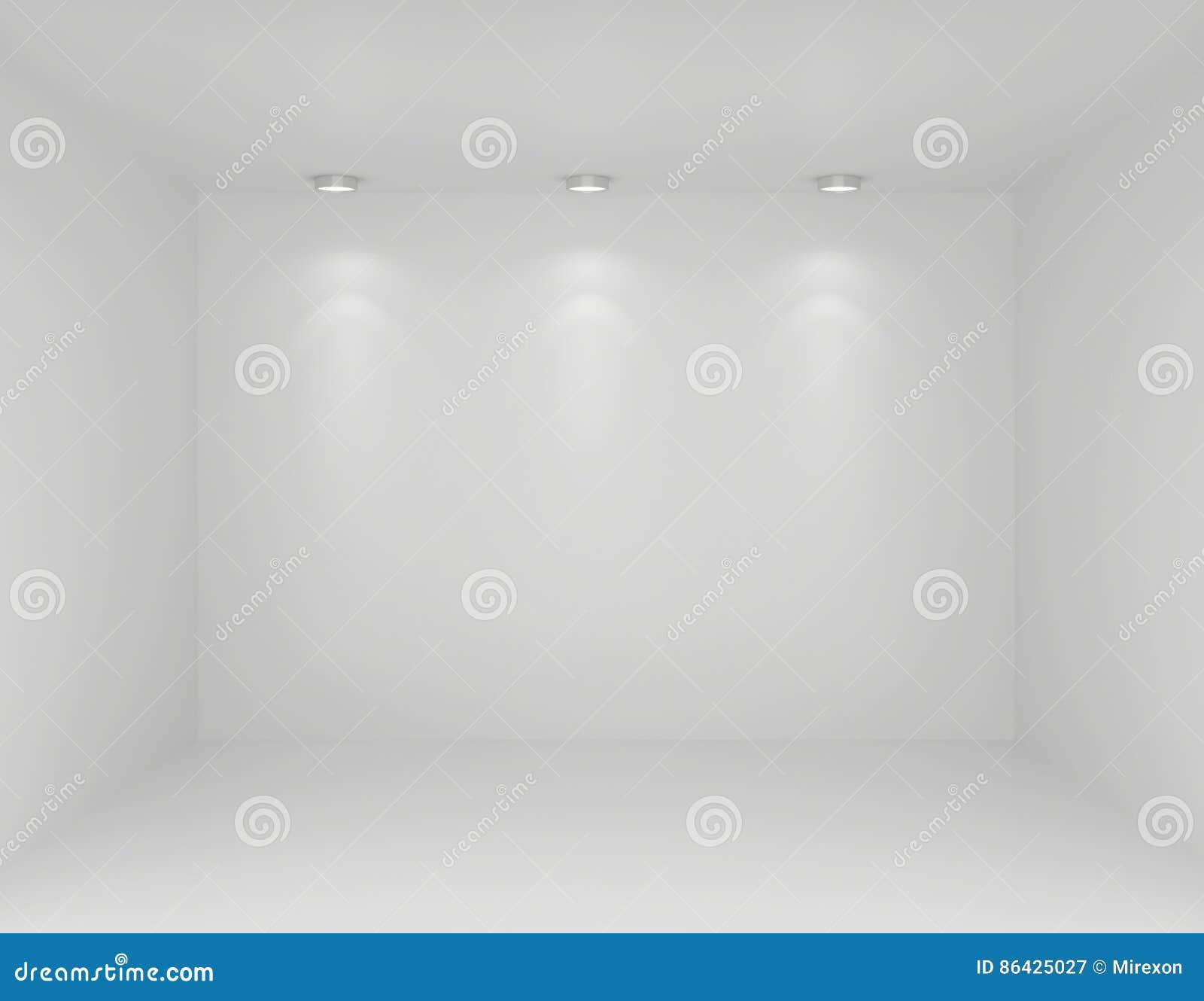 Riflettori nell interno della galleria con la parete vuota