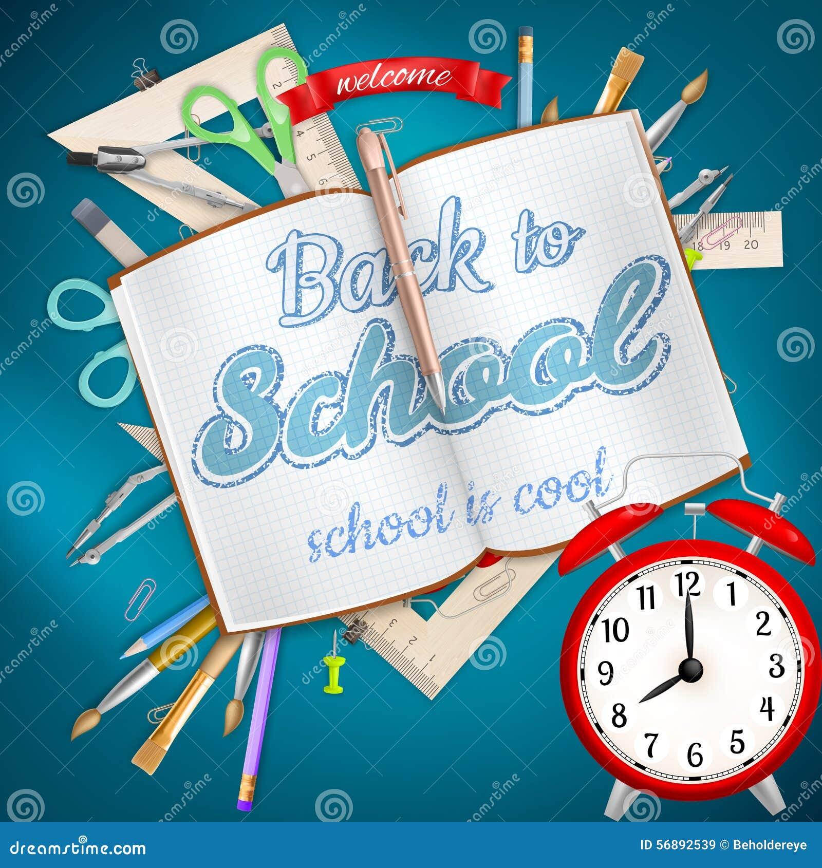 Rifornimenti di scuola su fondo blu ENV 10