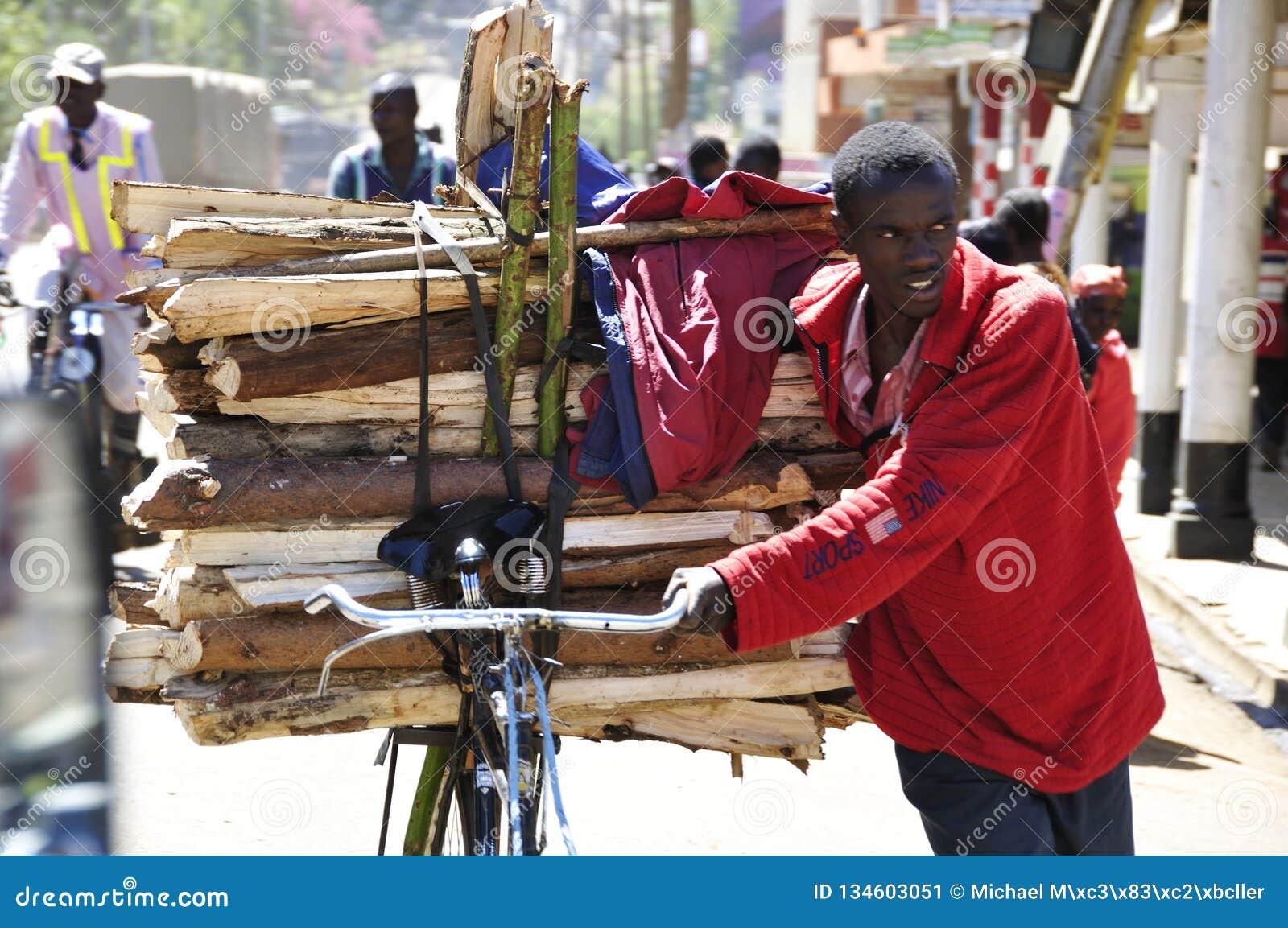 Rift Valley: Młodego człowieka troskliwy drewno na jego bycicle synklinie ulicy Eldoret miasto
