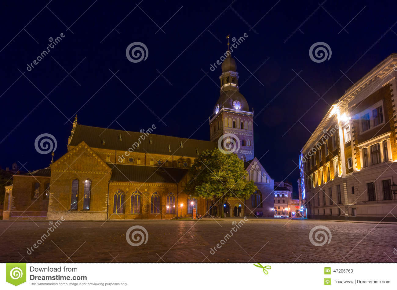 Riga cathedral illuminated at night