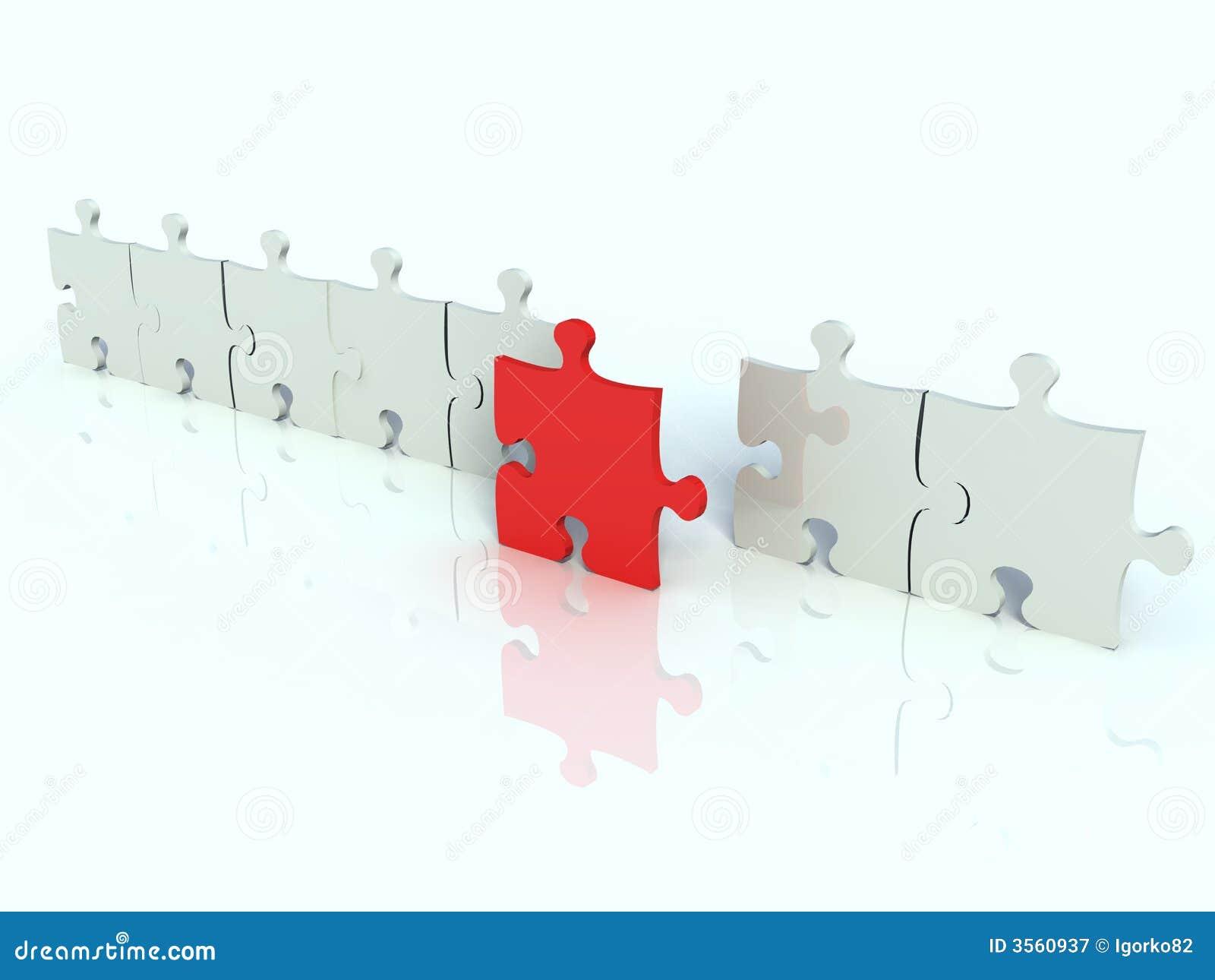 Riga del puzzle bianco