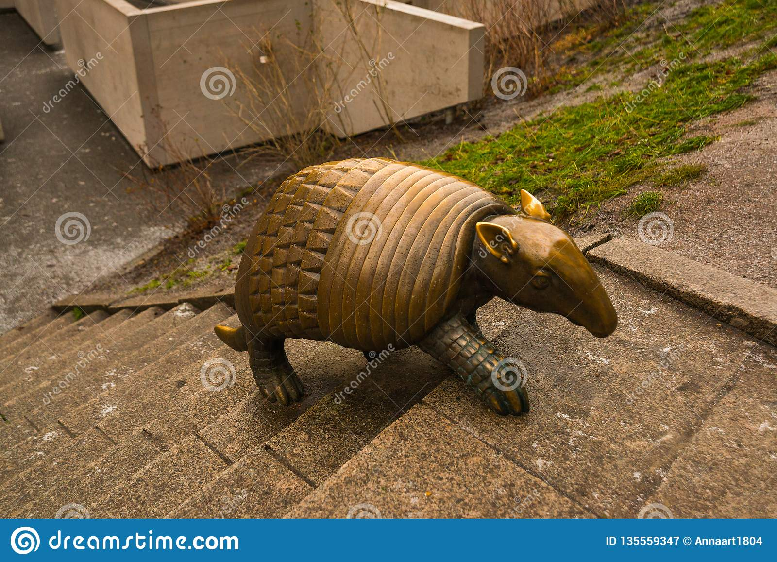Riga Latvia Armadillo Statue By Liene Mackus At The Children S Playground Labyrinth Stock Image Image Of Fauna Gray 135559347