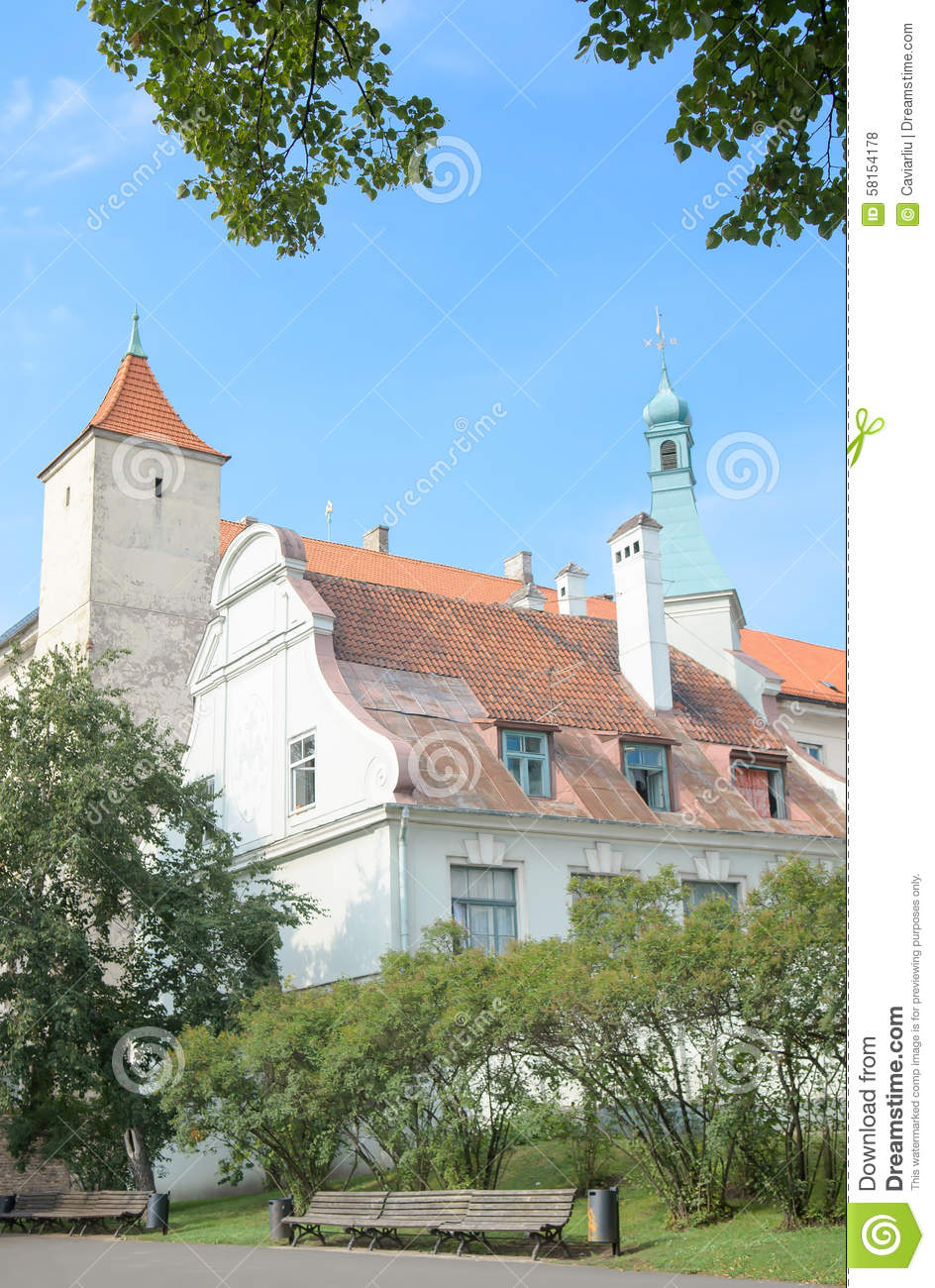 Riga, Latvia - August 10, 2014 - The picturesque view of the Riga Castle(the residence of President of Latvia) with Virgin of