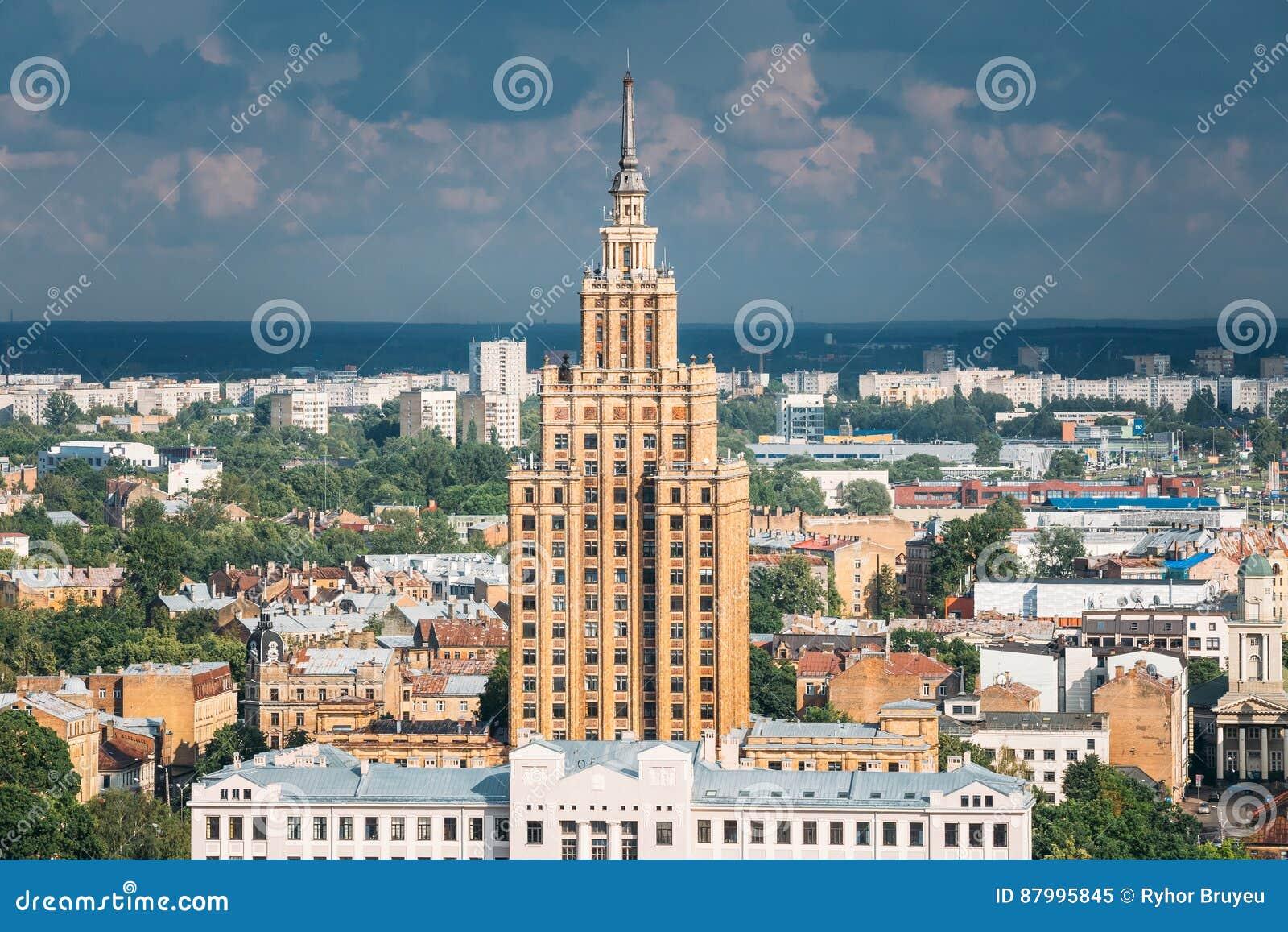 Riga, Latvia. Building of Latvian Academy of Sciences. Aerial