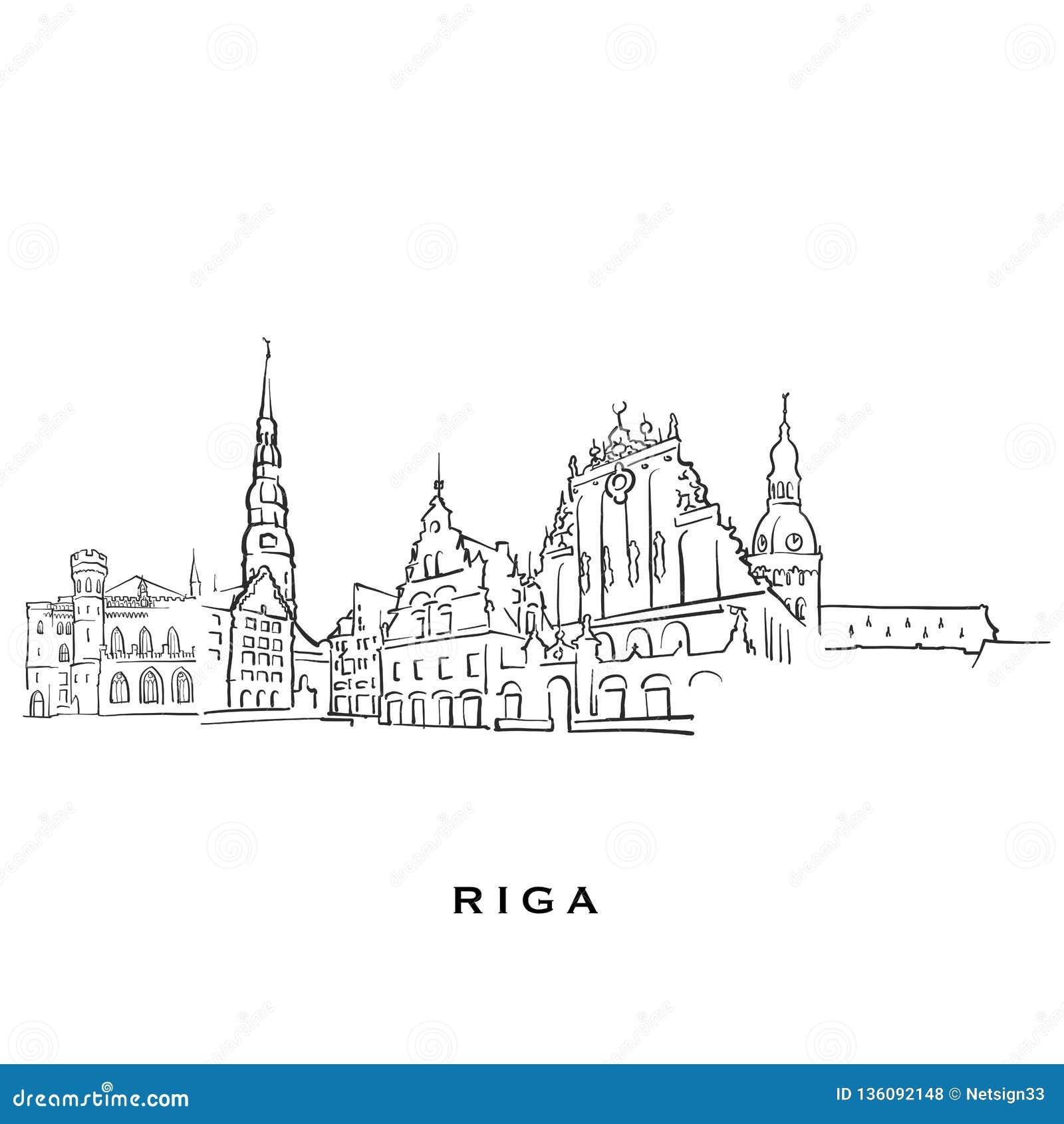 Riga Latvia Famous Architecture Stock Vector - Illustration of