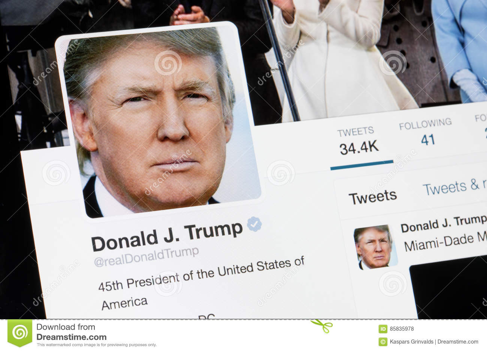 RIGA, LATVIA - February 02, 2017: President of United States of America Donald Trump Twitter profile.