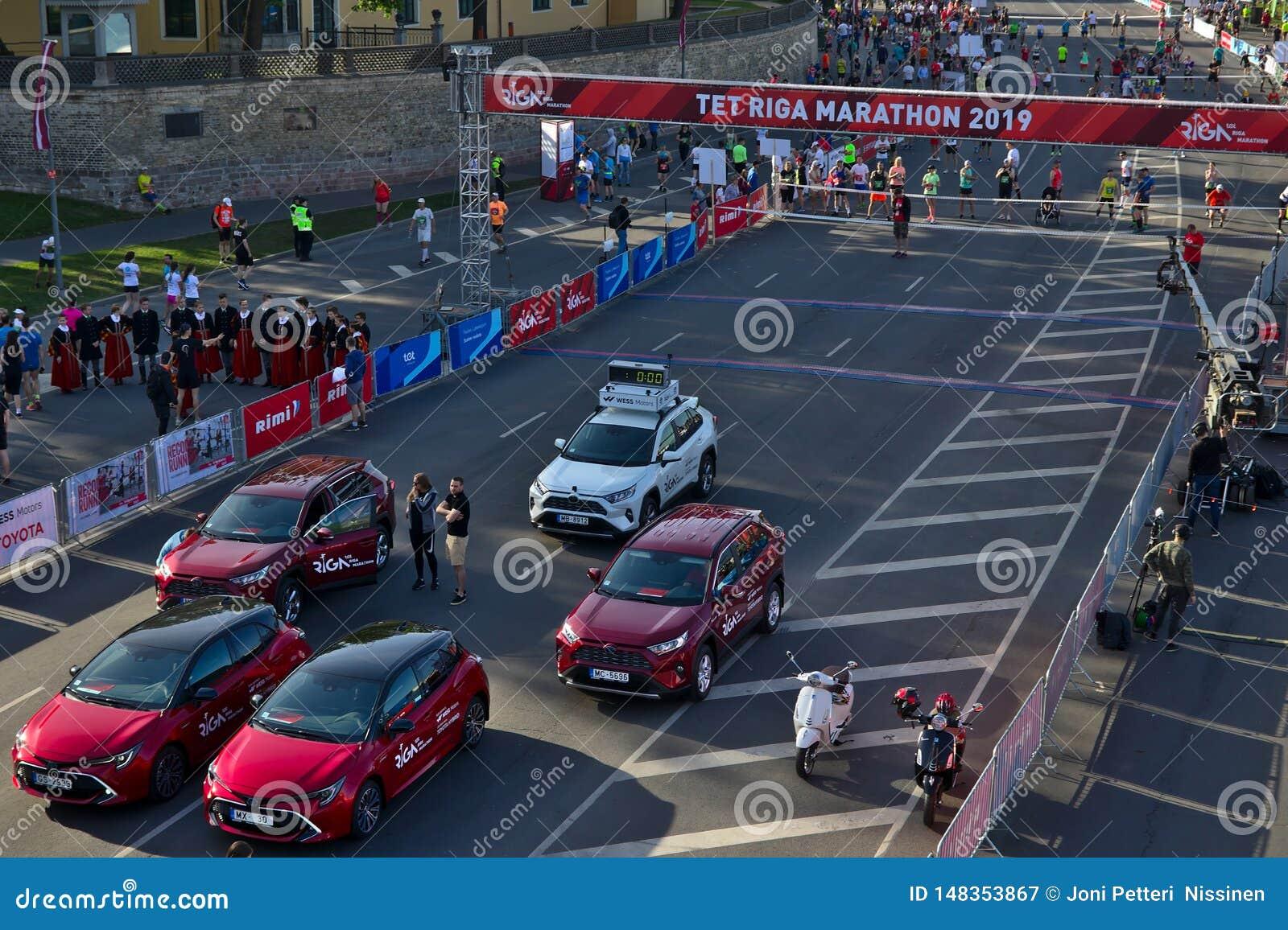 Riga, Latvia - May 19 2019: Cars getting ready for Marathon