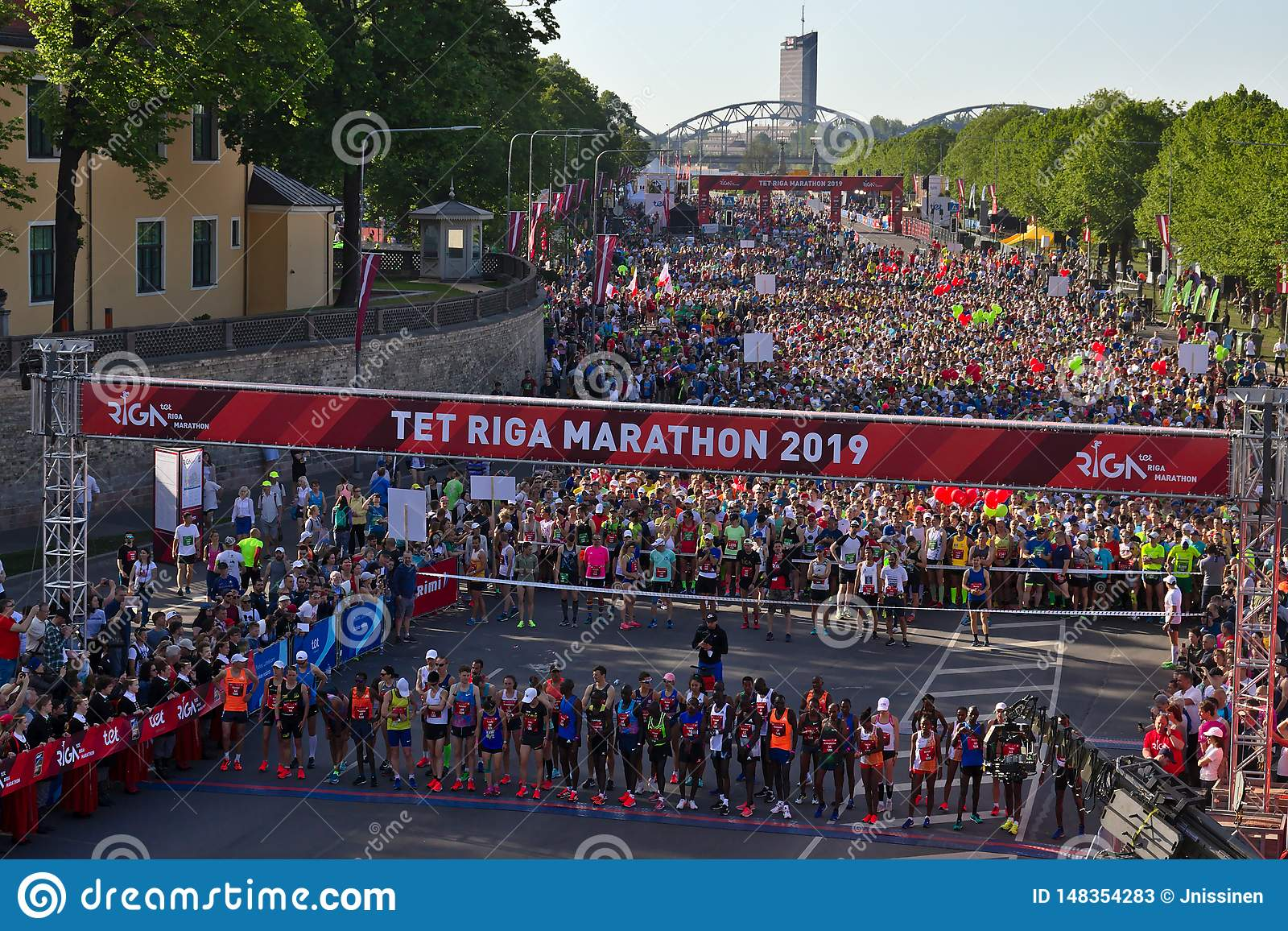 Riga, Latvia - May 19 2019: Elite runners of Riga TET marathon queuing at the start line ethnically diverse