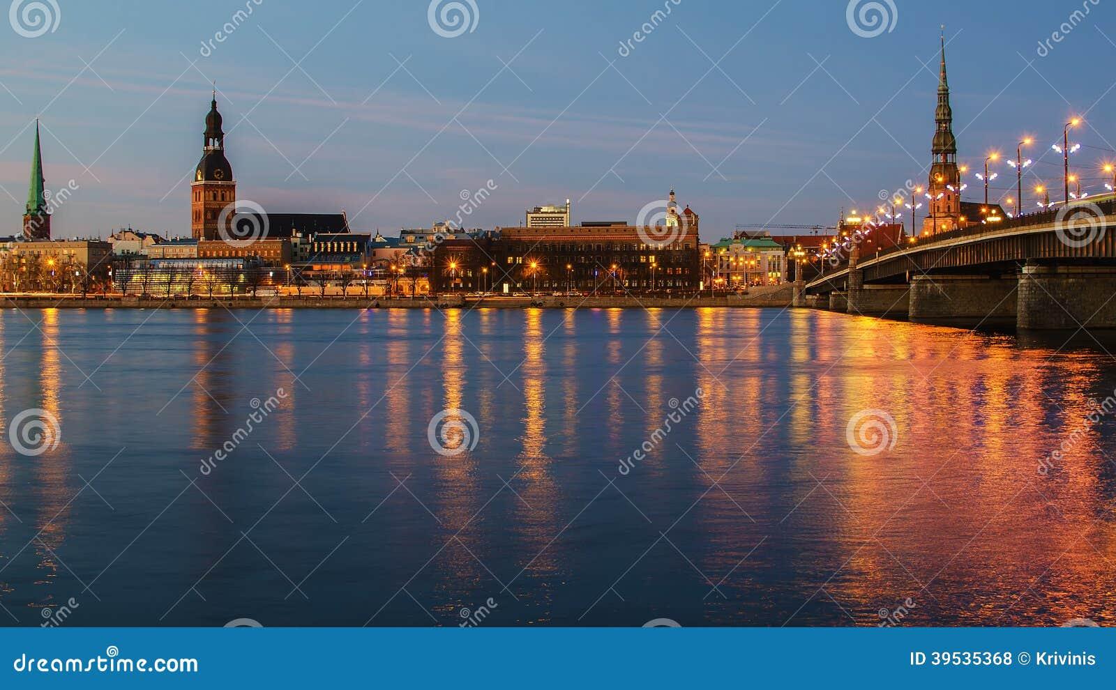 Riga (Latvia) at night