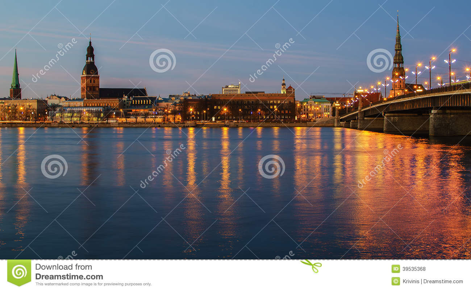 Download Riga (Latvia)  at night stock photo. Image of evening - 39535368