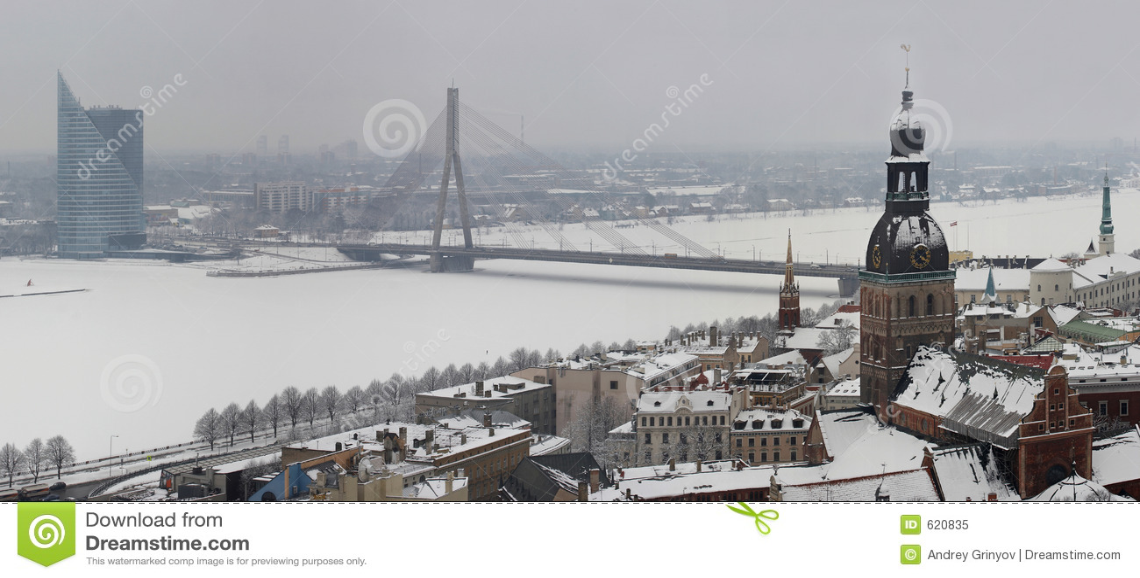 Riga, Letland, Doms op de winter, mening (panorama) van Kerk St.Peter