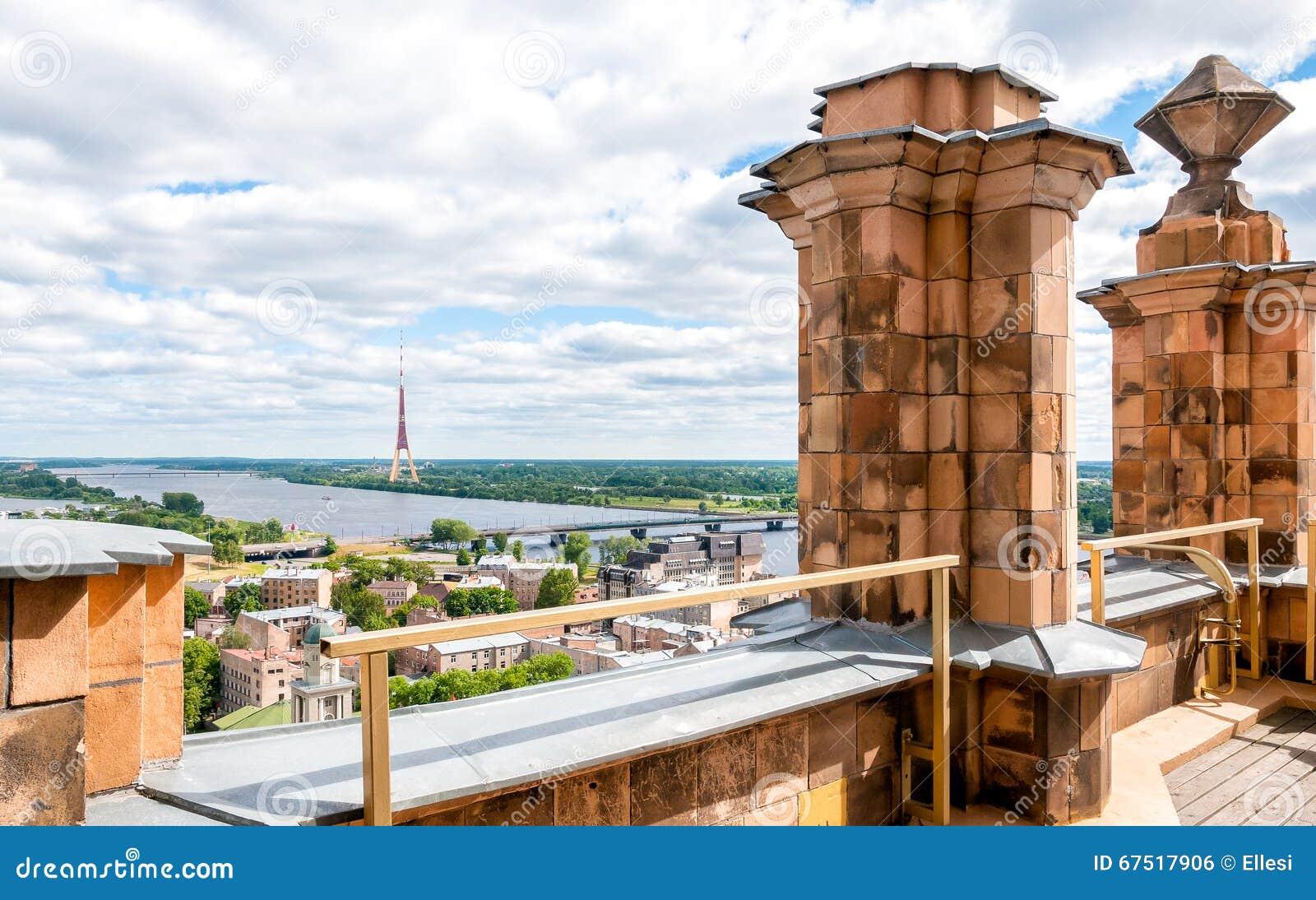 Riga Lettland, cityscape från akademi av vetenskaper