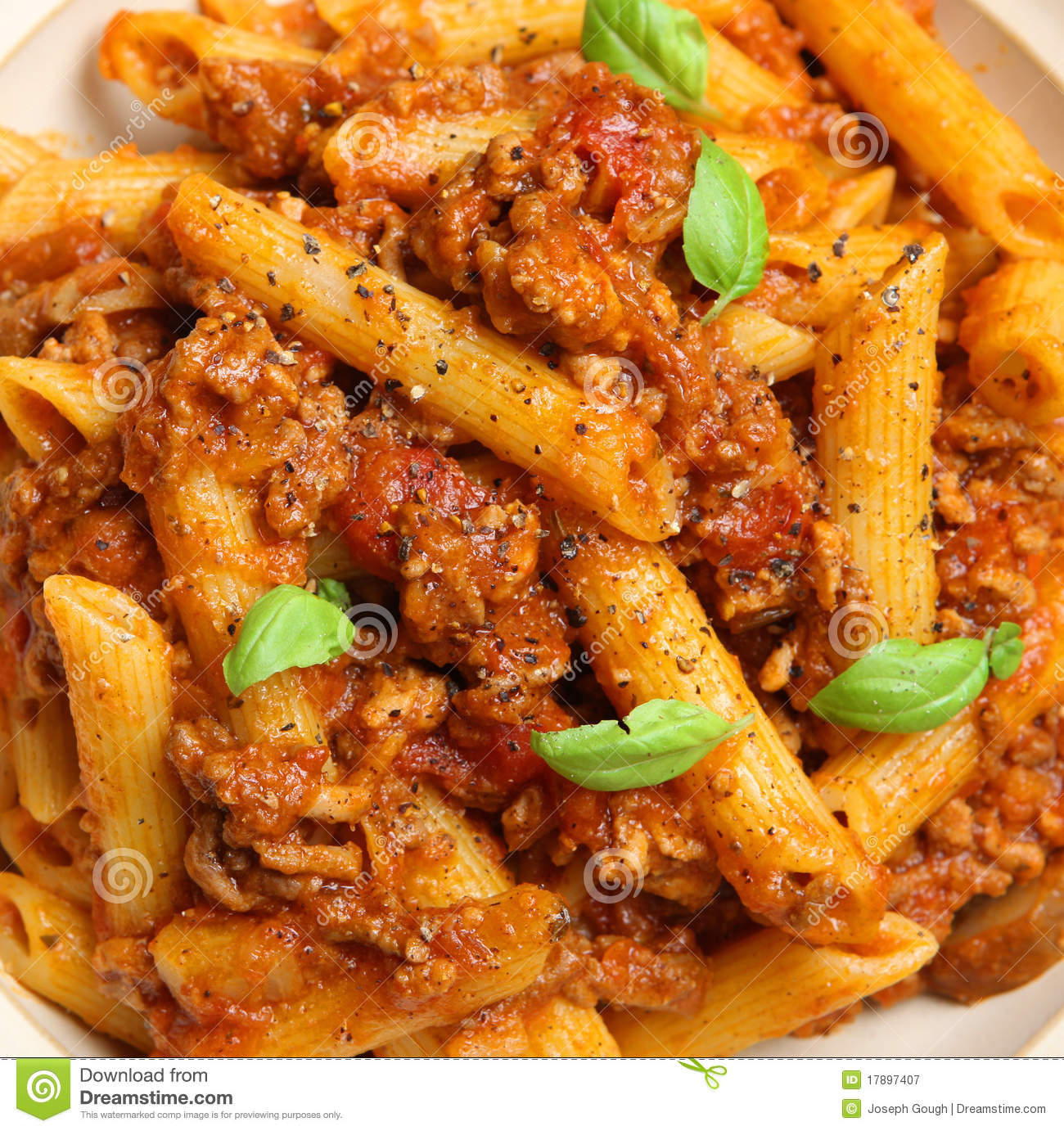 Rigatoni Pasta With Bolognese Sauce Royalty Free Stock Photography ...