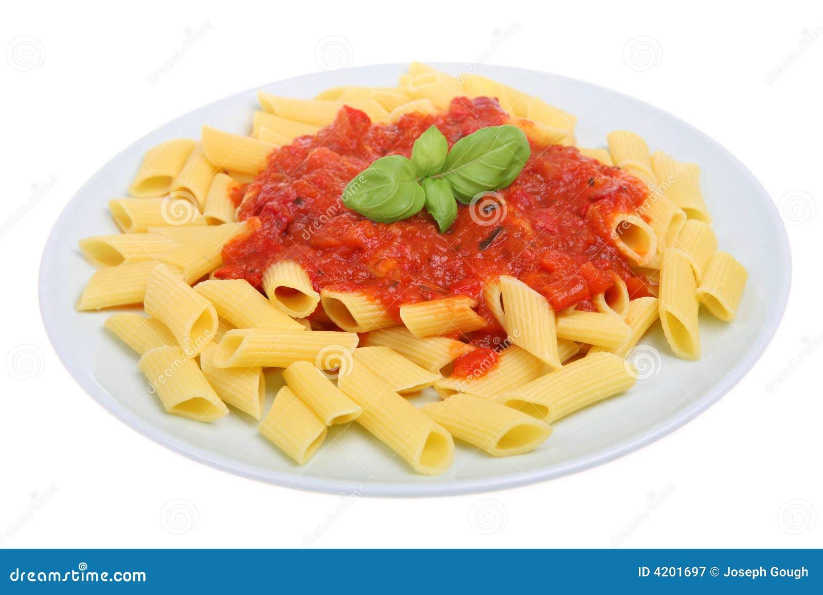Simple rigatoni pasta dish with tomato sauce.