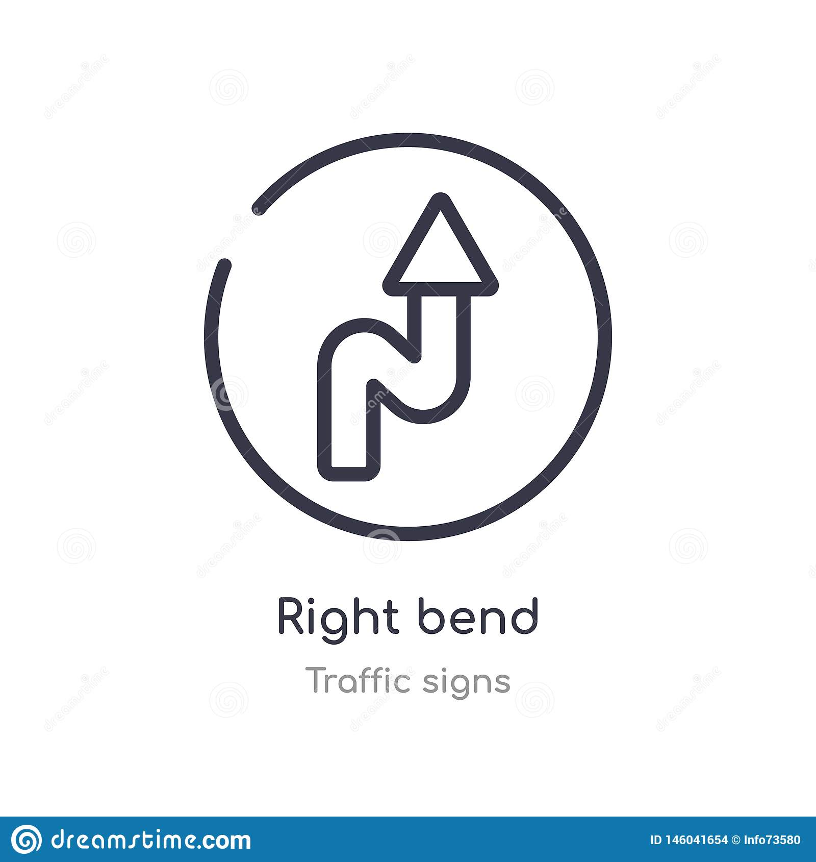 right bend outline icon. isolated line vector illustration from traffic signs collection. editable thin stroke right bend icon on