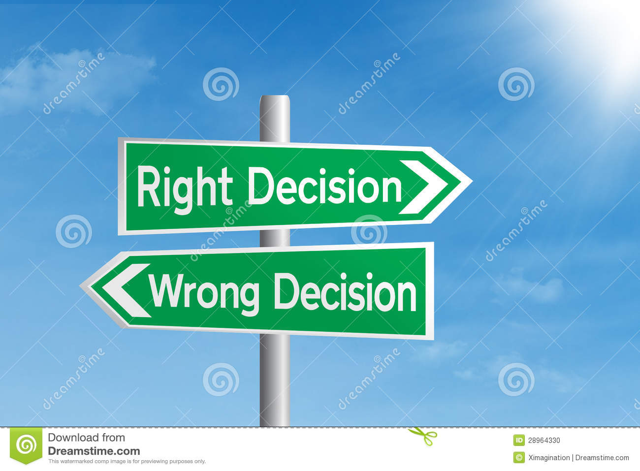 Right Decision Vs Wrong Decision Stock Photo  Image: 28964330