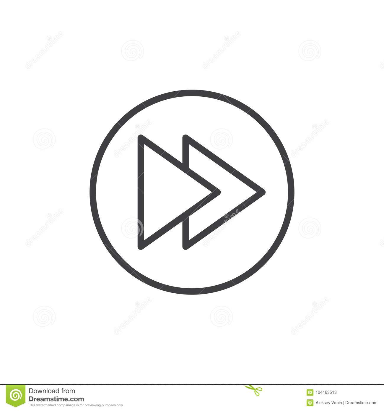 Right Double Arrow Line Icon Stock Vector Illustration Of