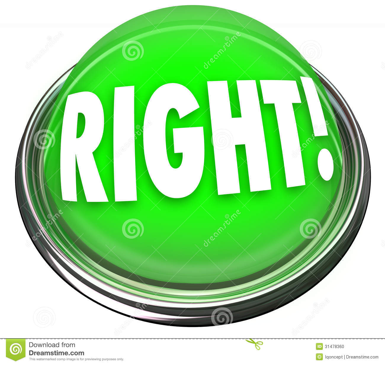 Right Green Button Light Flashing Correct Answer Stock Photo  Image