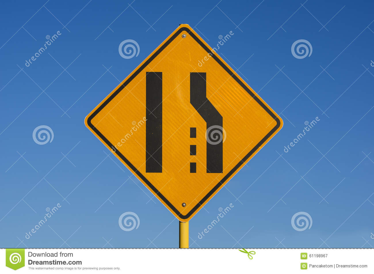 right lane ends sign stock photo image 61198967
