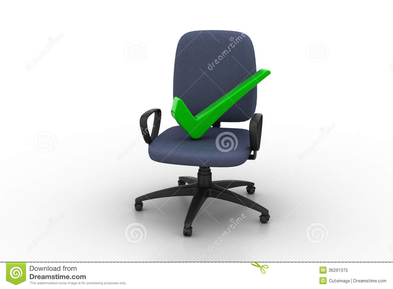 Right mark sitting comfortable computer chair royalty free for Sitting easy chairs