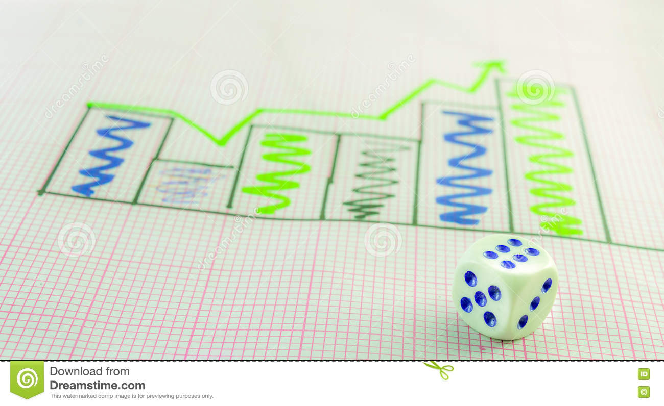 right peak histogram and 6 dice stock photo - image of achievement