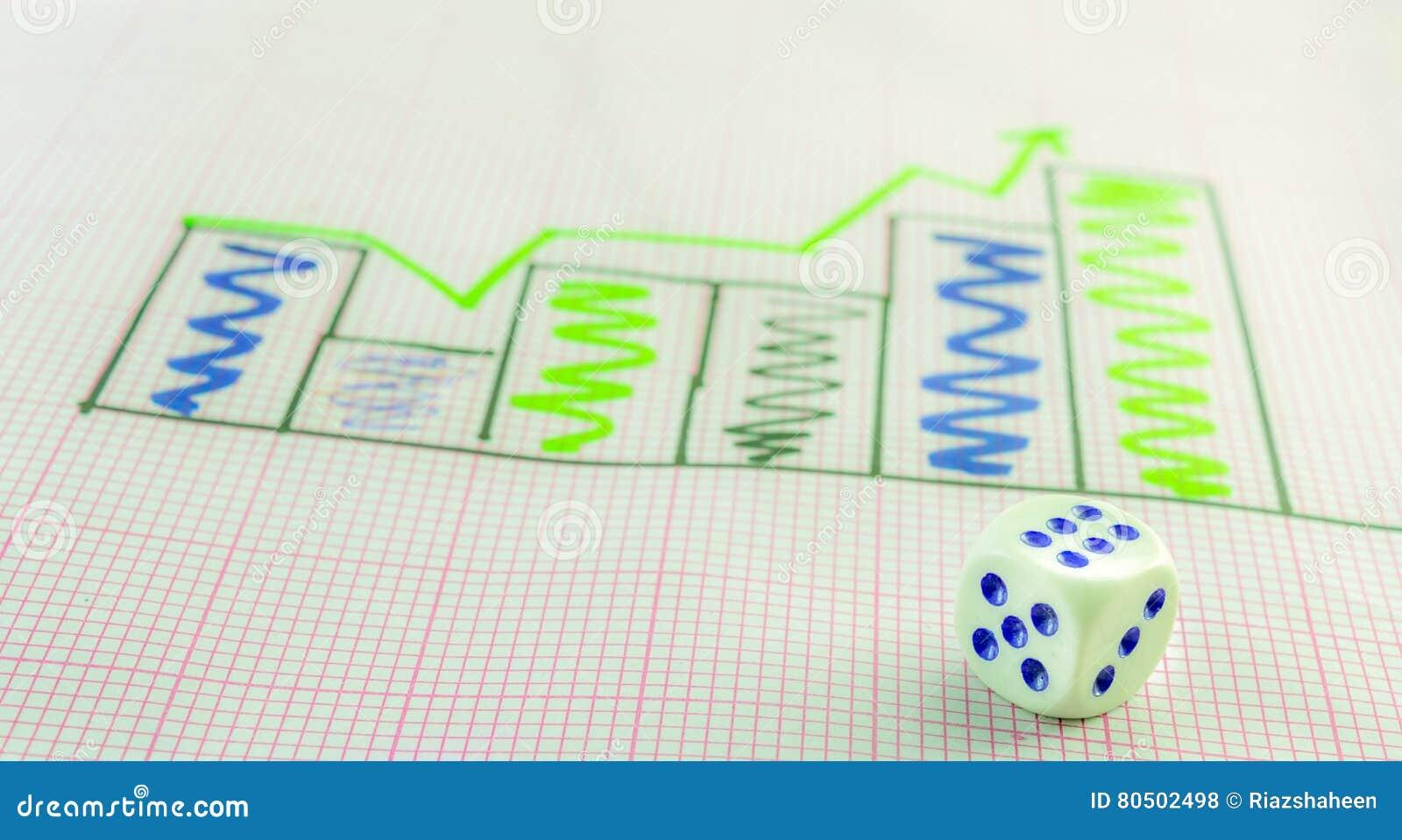 right peak histogram and 6 dice stock photo - image of achievement