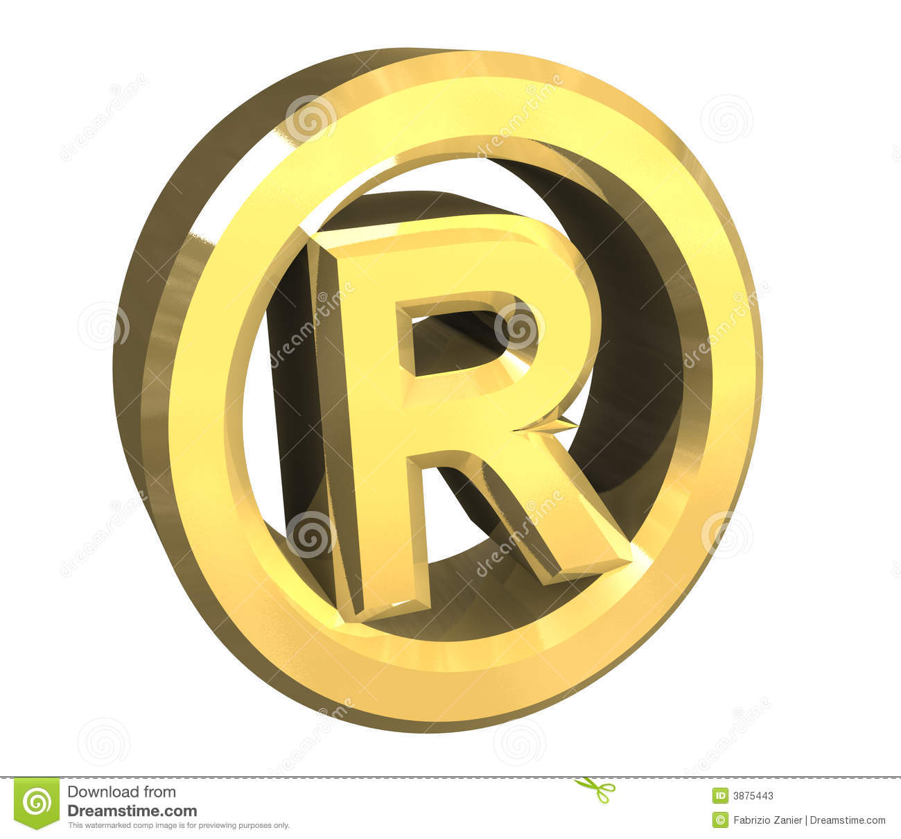 Right Reserved Symbol In Gold 3d Stock Illustration Illustration