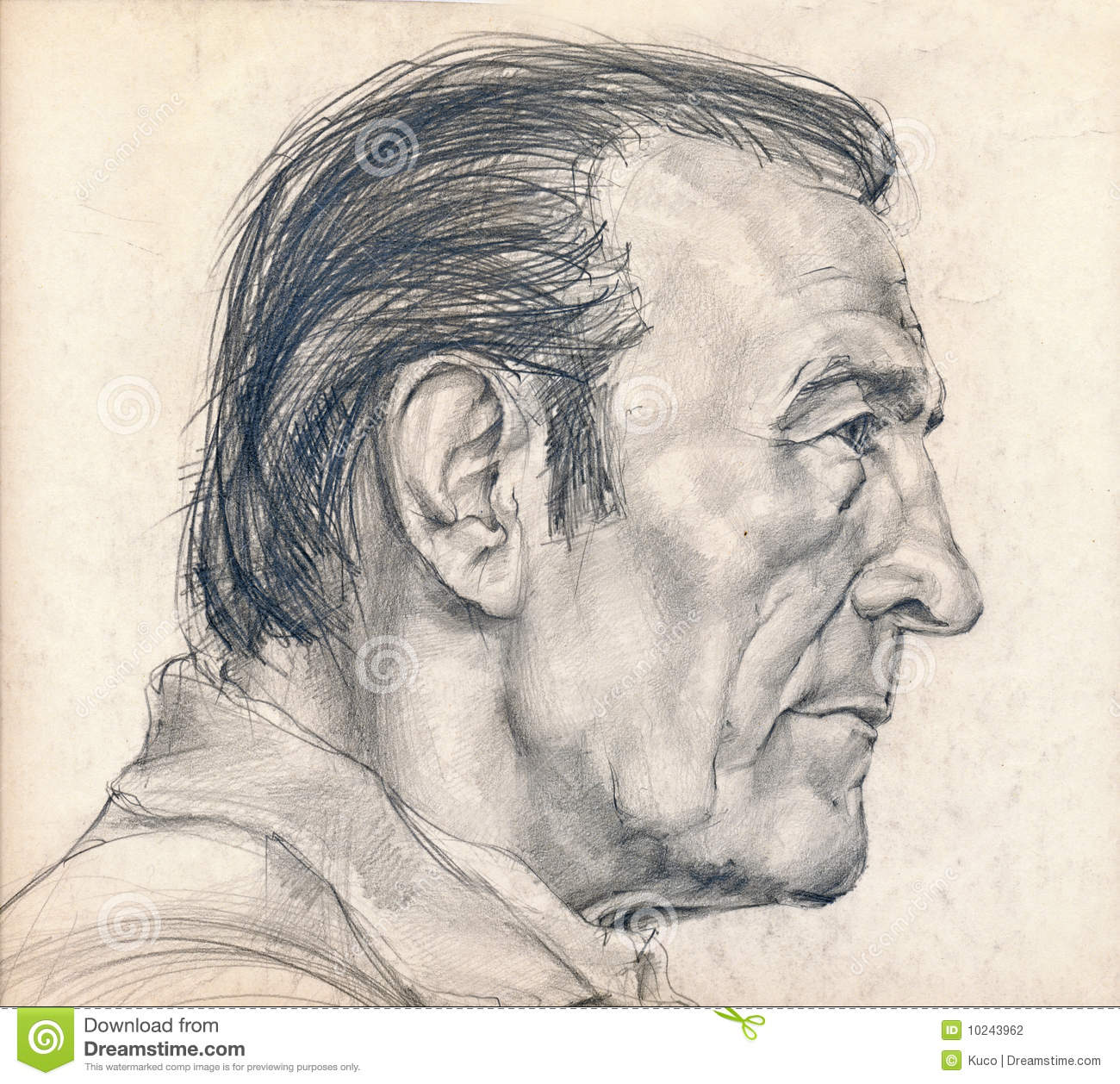 Right Side Of The Face Of Man Stock Illustration