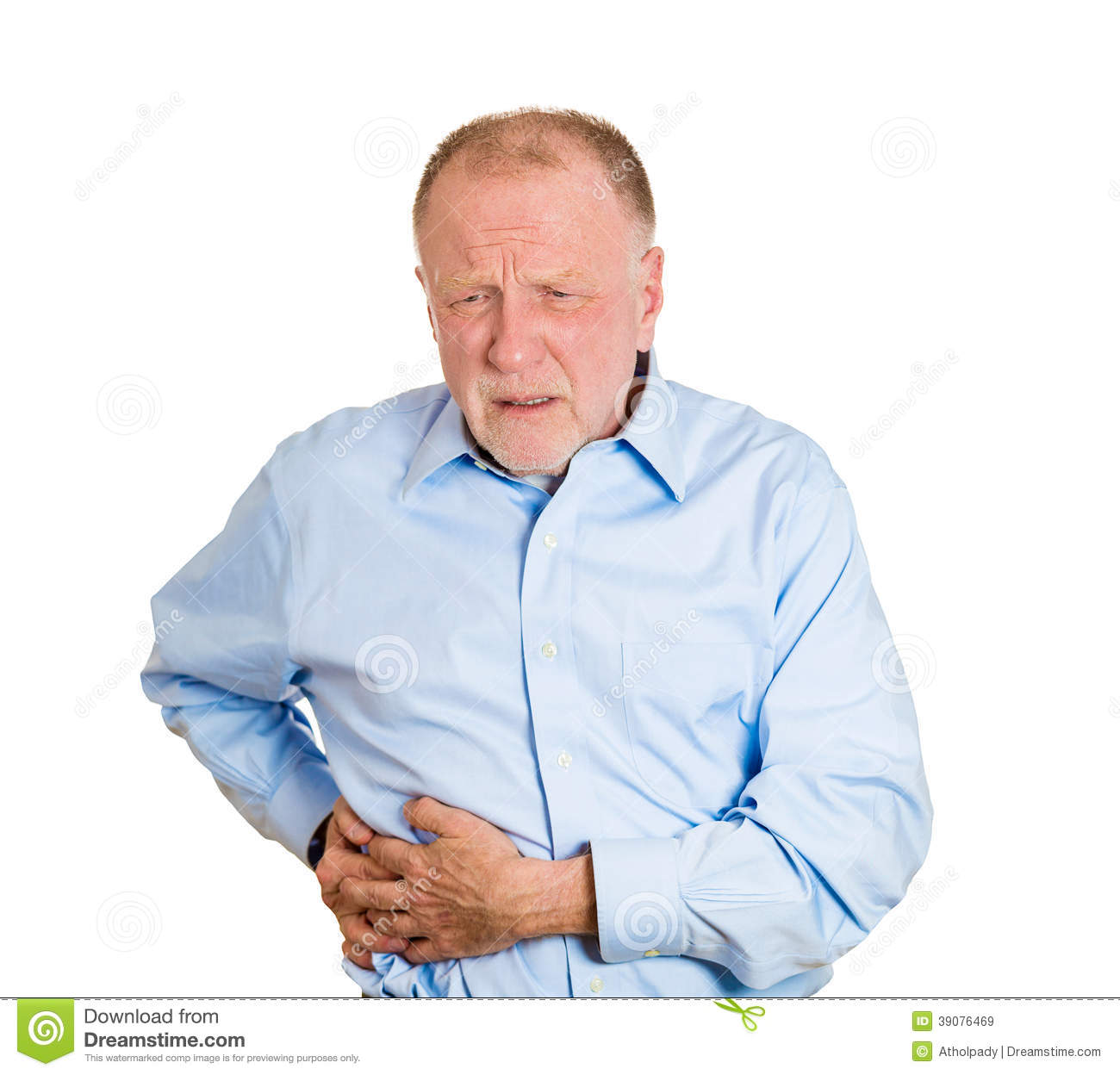... stomach, spleen pain, isolated white background. Nephrolithiasis. face