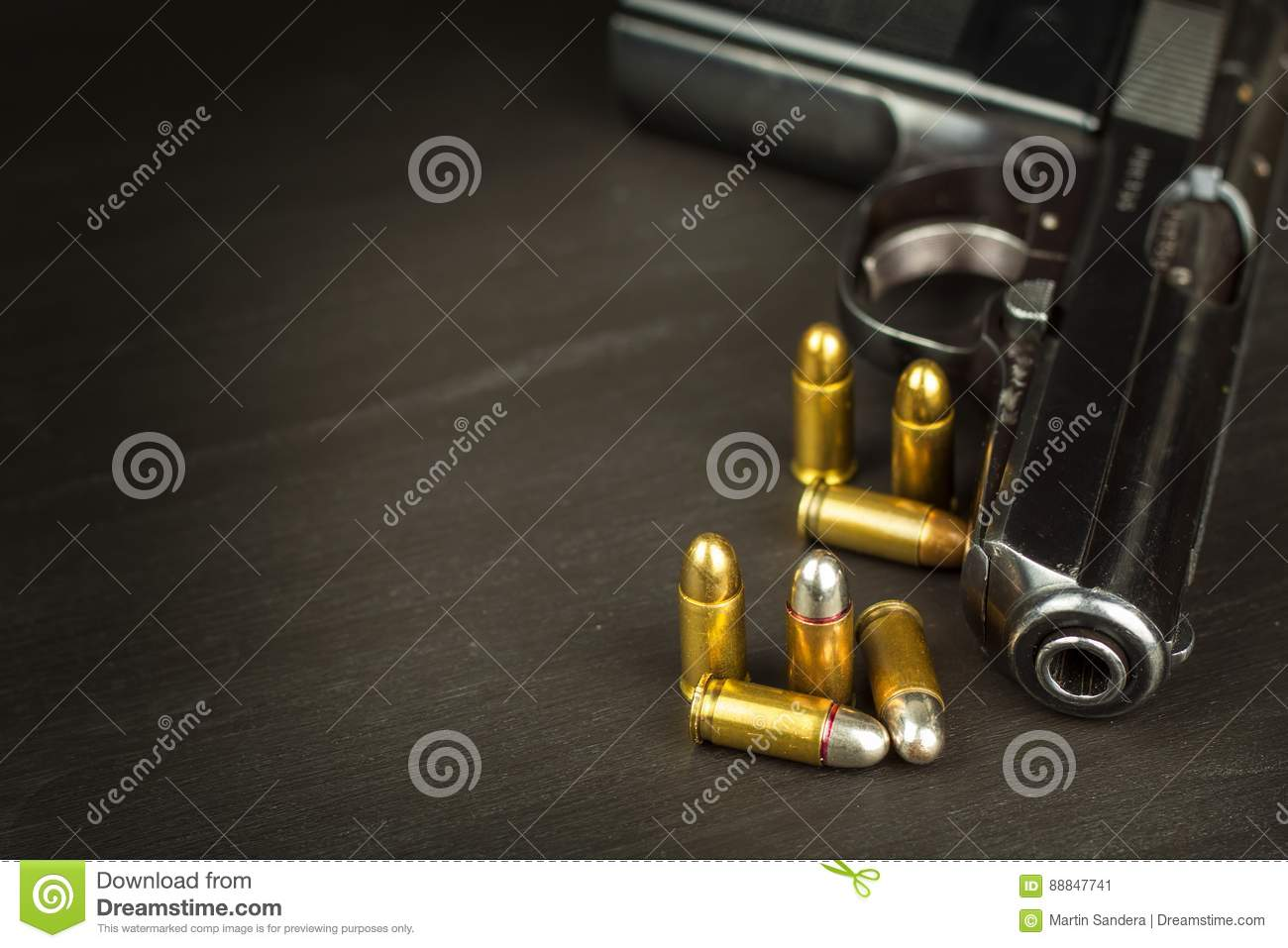 Right to bear arms. Arms control. Detail on the gun. Place for your text. Sales of firearms.