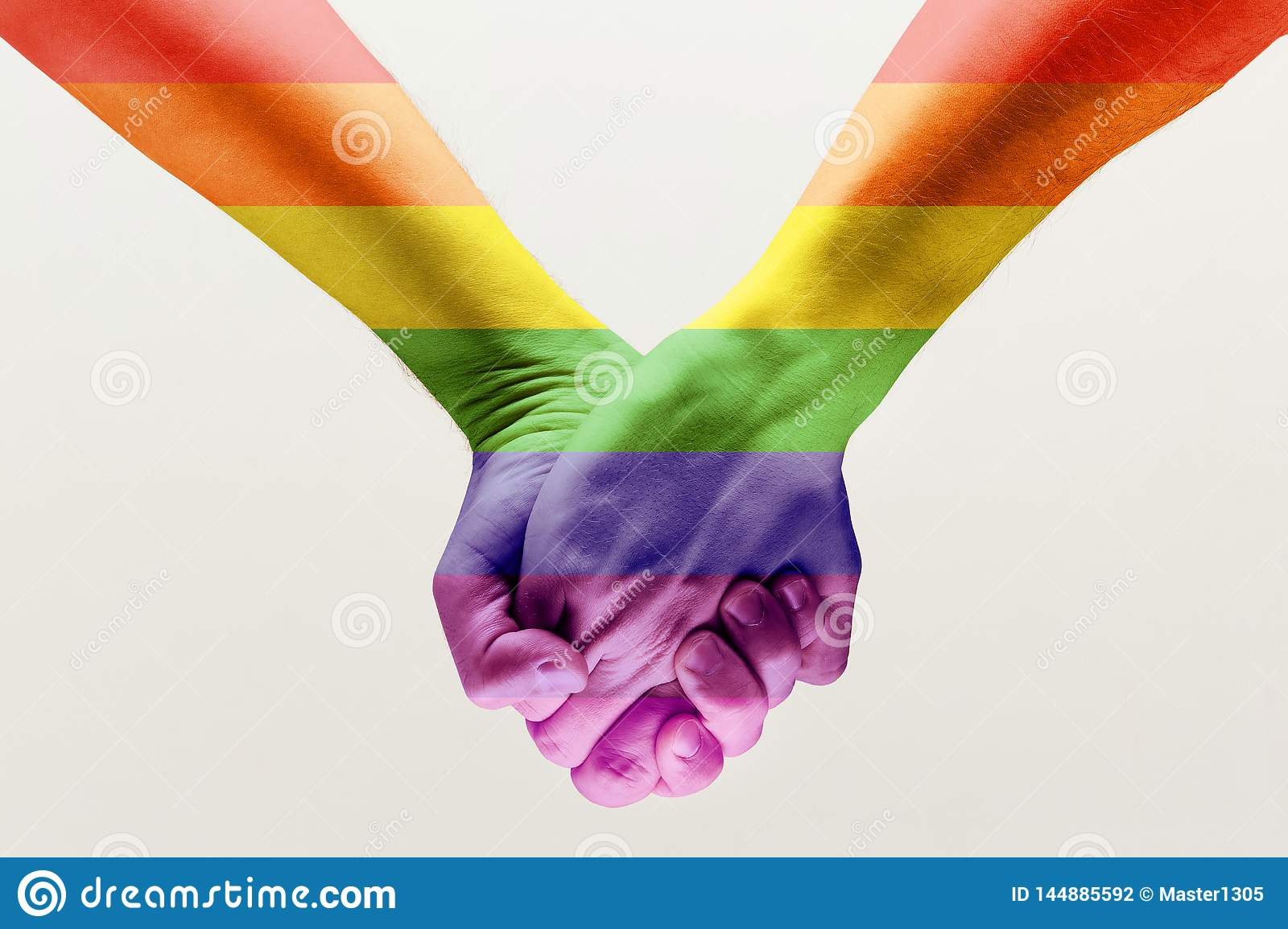 loseup of a gay couple holding hands, patterned as the rainbow flag