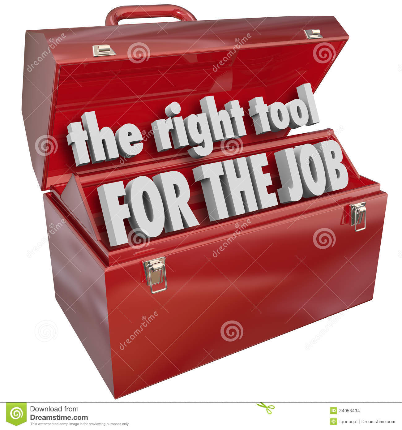 The Right Tool for the Job words in a red metal toolbox to illustrate