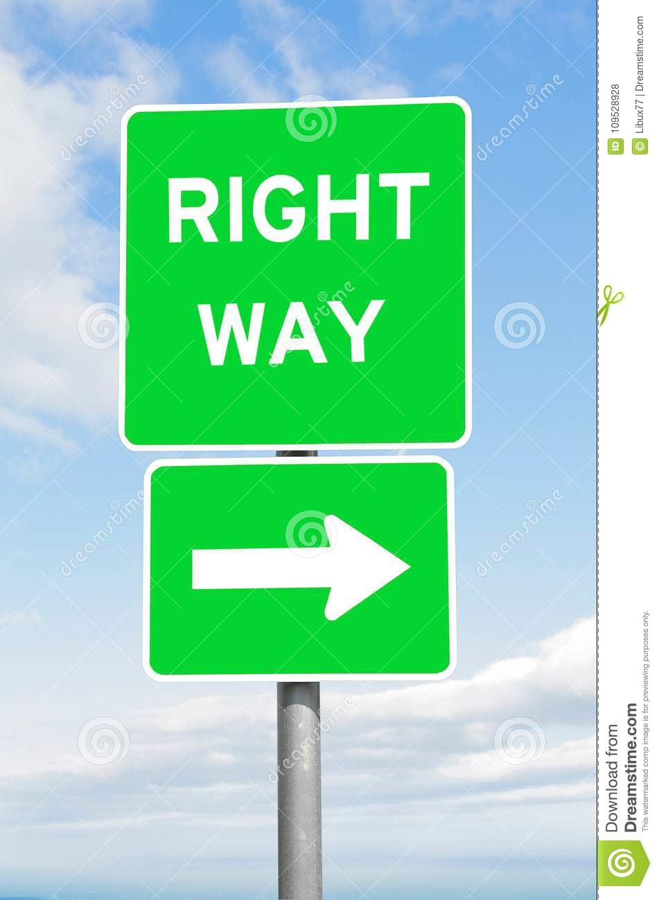 Right way direction signpost sky