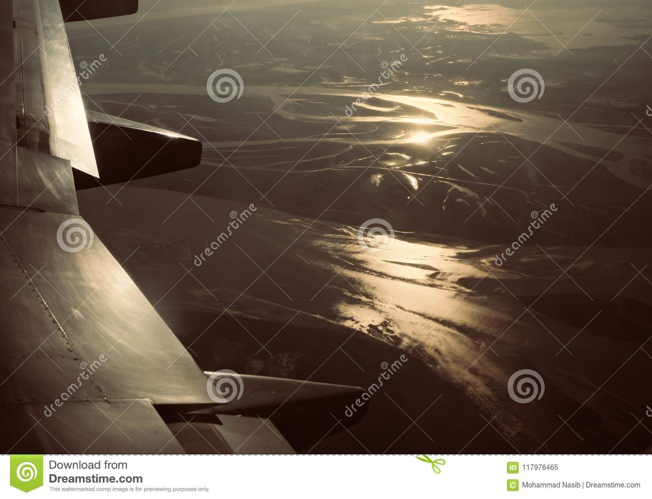 Download Right Wings Of An Airplane With Sky Background Photo Stock Image - Image of part, beautiful: 117976465