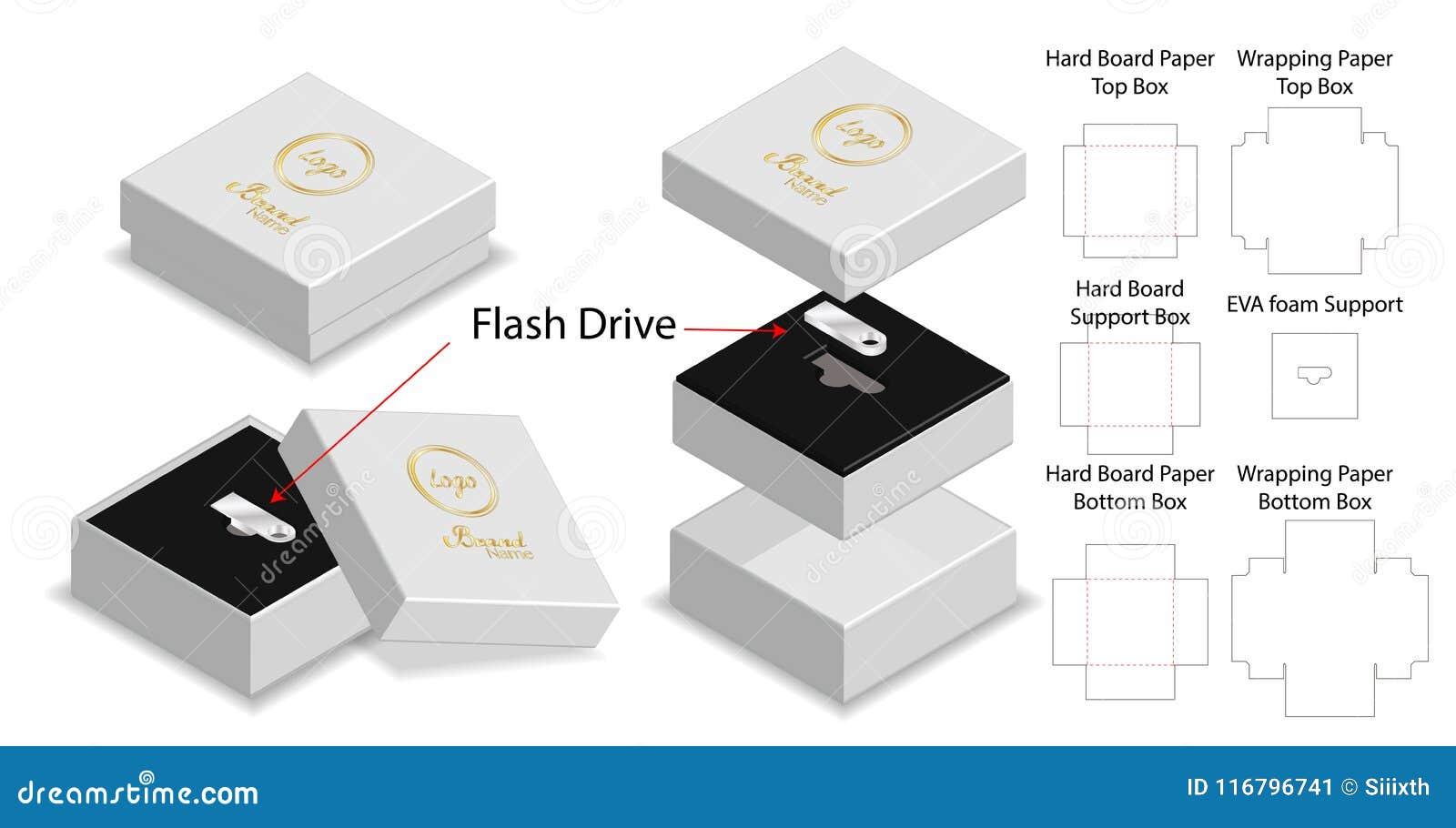 Rigid Box For Flash Drive Packaging Die-cut Mockup Stock