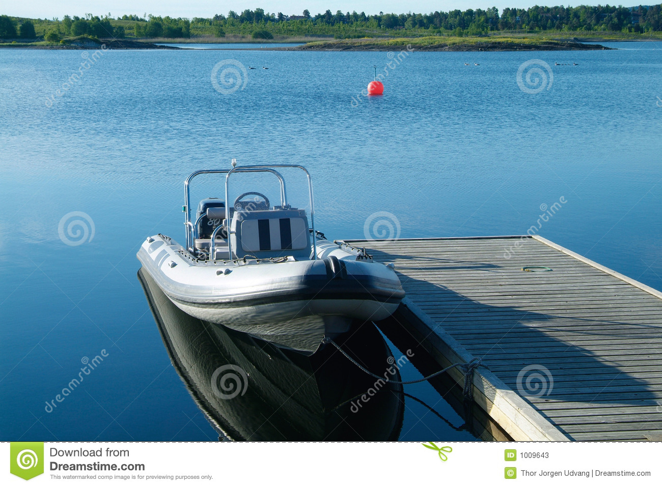 Rigid Inflatable Boat At A Pier Stock Photos - Image: 1009643